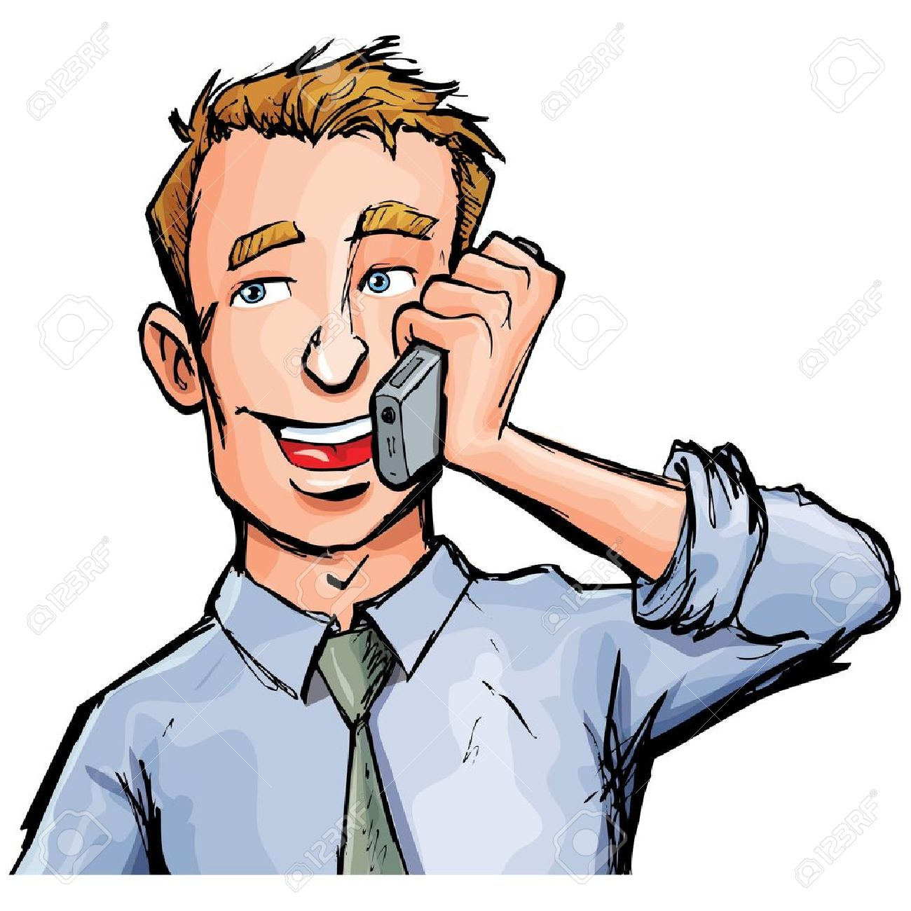 cartoon office worker on the phone he is smiling royalty free rh 123rf com person on phone clipart person answering phone clip art