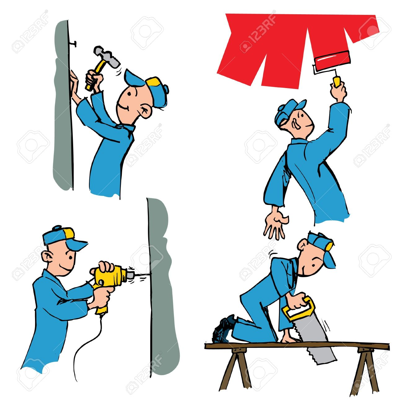 Cartoon set of workman doing different DIY chores including painting,drilling,woodwork etc Stock Vector - 9154999