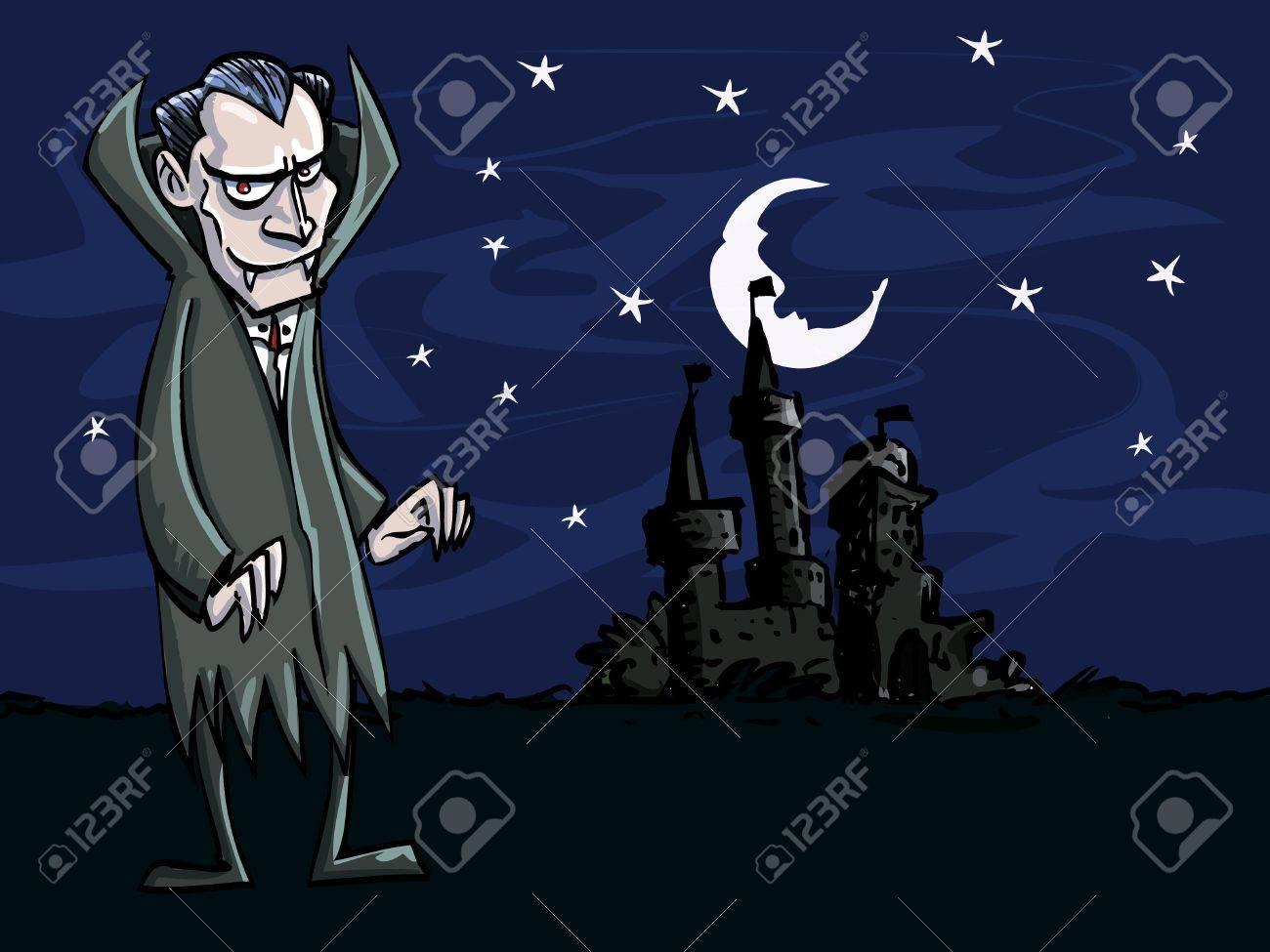 Vettoriale cartone animato di vampiro di fronte a un castello di