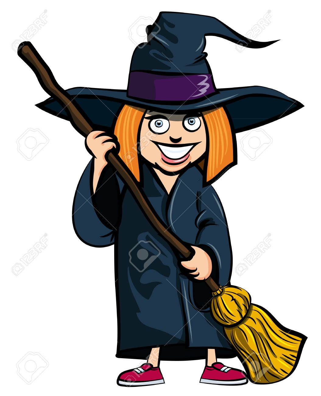 Cartoon of little girl in a witches costume. She is ready for trick or treating  sc 1 st  123RF.com & Cartoon Of Little Girl In A Witches Costume. She Is Ready For ...
