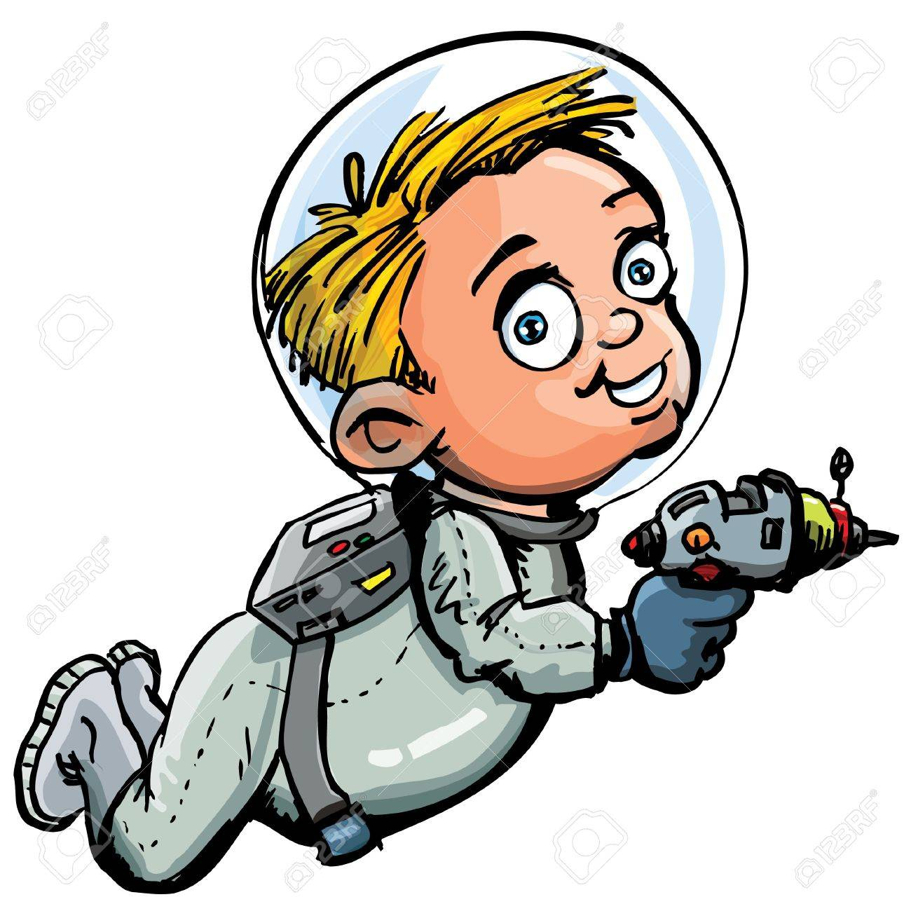 Cute cartoon of spaceman with a lazer gun. He is in a spacesuit Stock Vector - 9232605