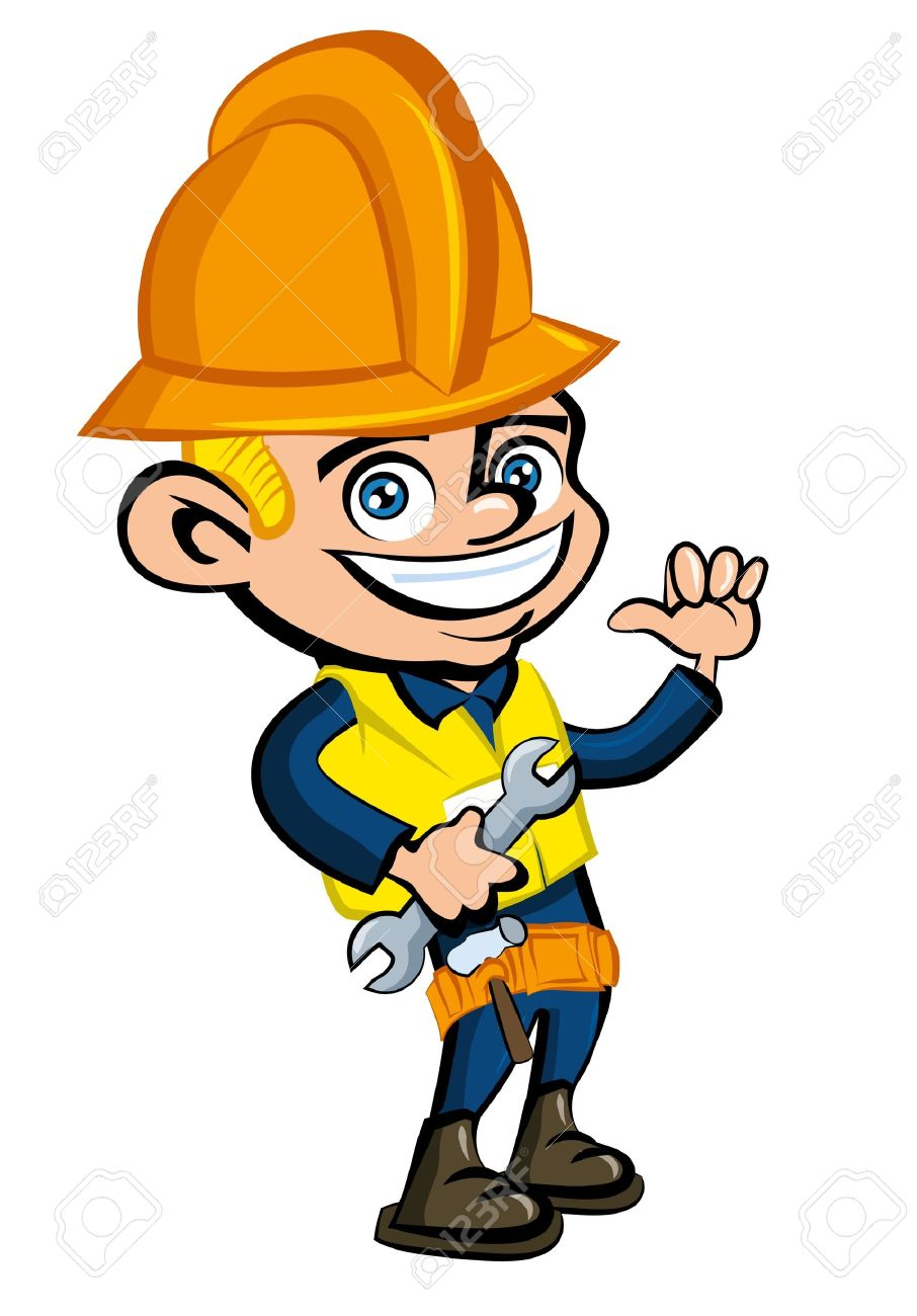 Cartoon cartoon of a worker witha hard hat. He is waving Stock Vector - 9232582