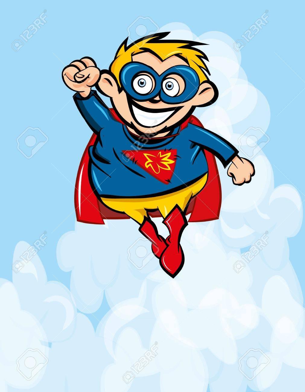 Cute cartoon Superboy flying up. Blue sky behind Stock Vector - 9290066