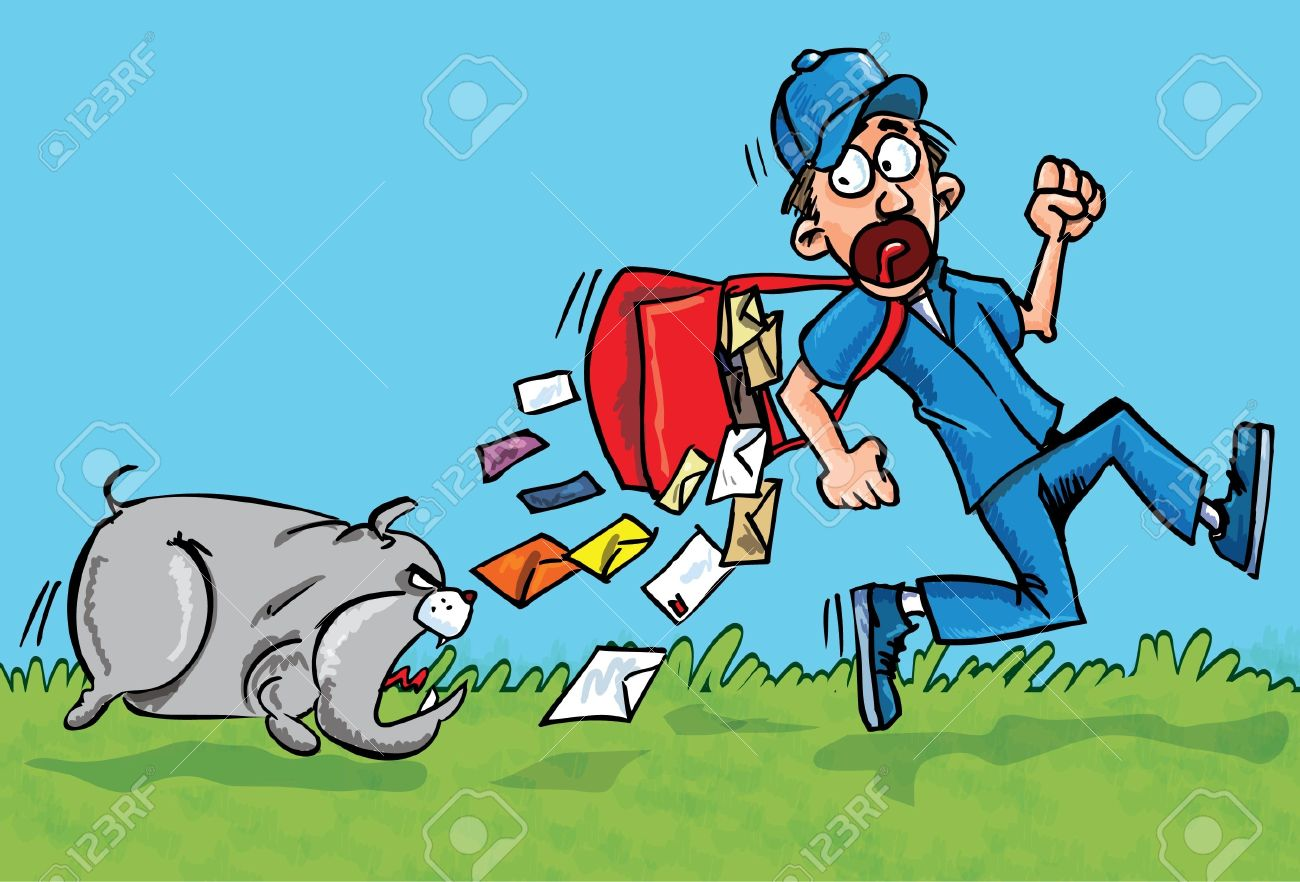 Cartoon postman running away from a dog. He is dropping his letters Stock Vector - 9290194