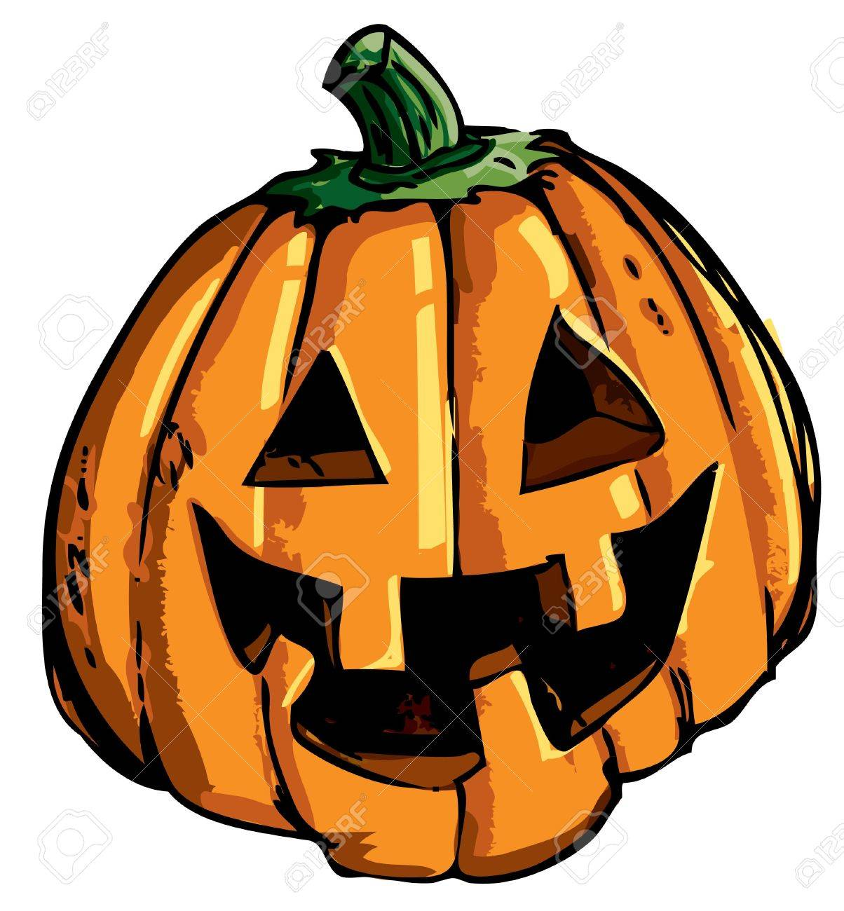 Cartoon of smiling halloween carved pumpkin isolated on white Stock Vector - 9290054