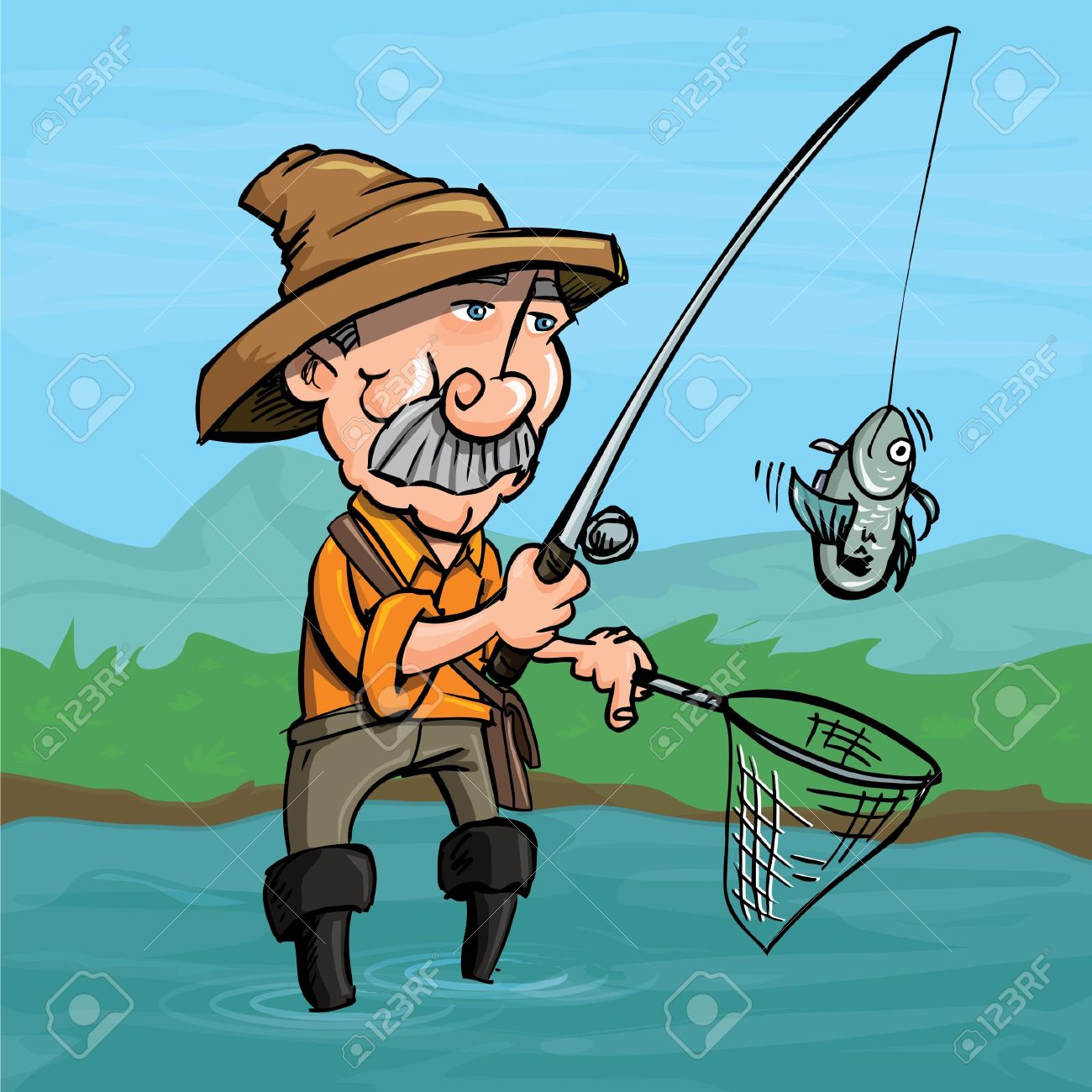 Cartoon fisherman catching a fish. He is standng in a river Standard-Bild - 9290255