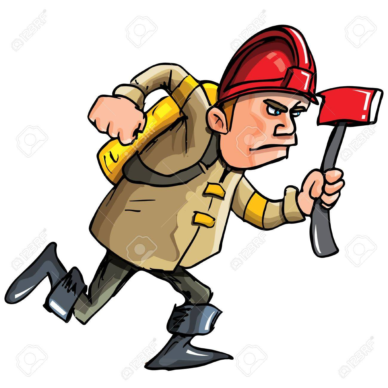 Cartoon fireman running with an axe. Isolated on white Stock Vector - 9290208