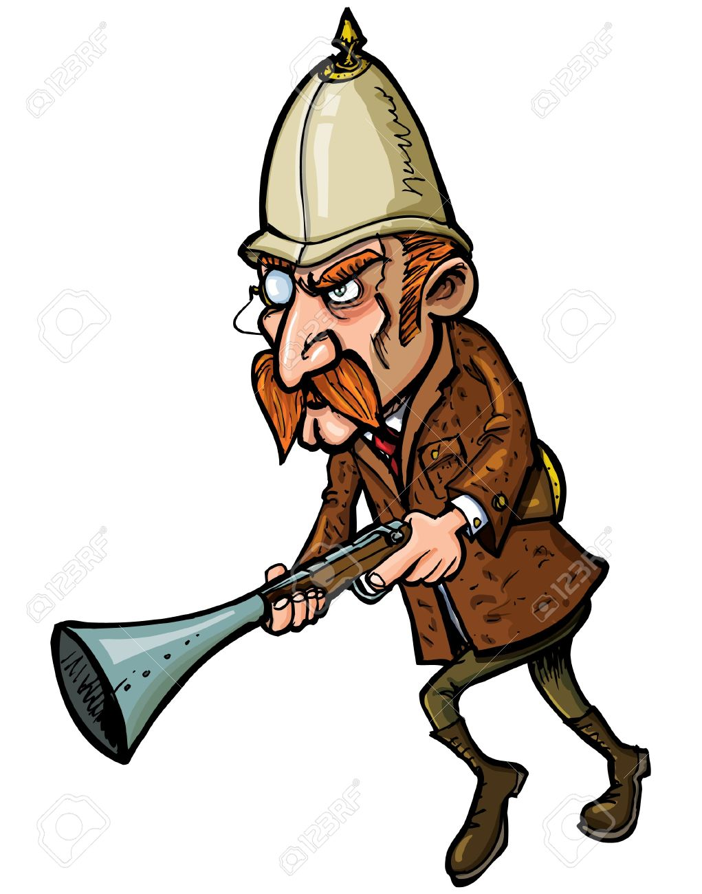 Cartoon hunter with a blunderbuss isolated on white Stock Vector - 9290220