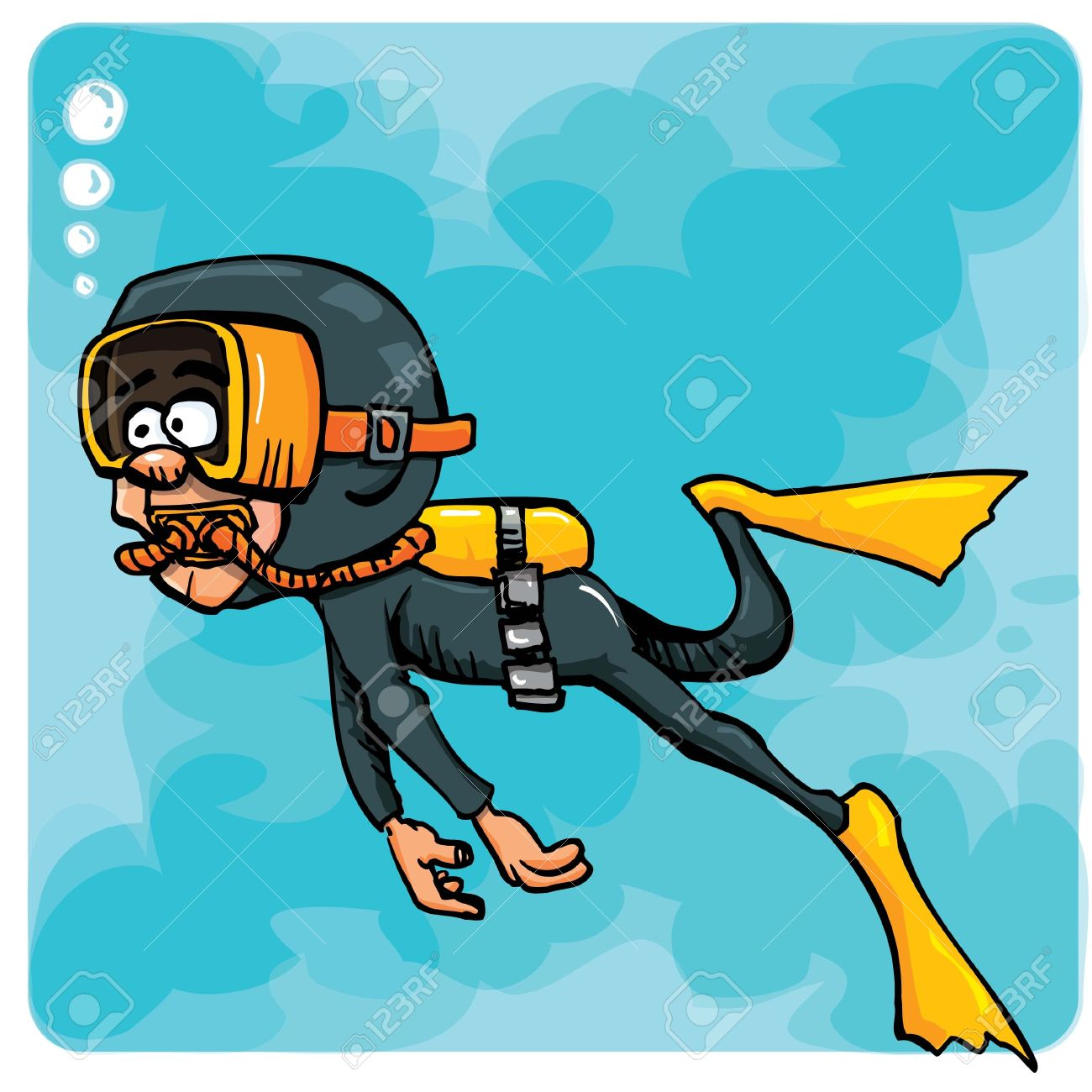 Cartoon Diver Swimming Underwater. Blue Sea Behind Him Royalty ...