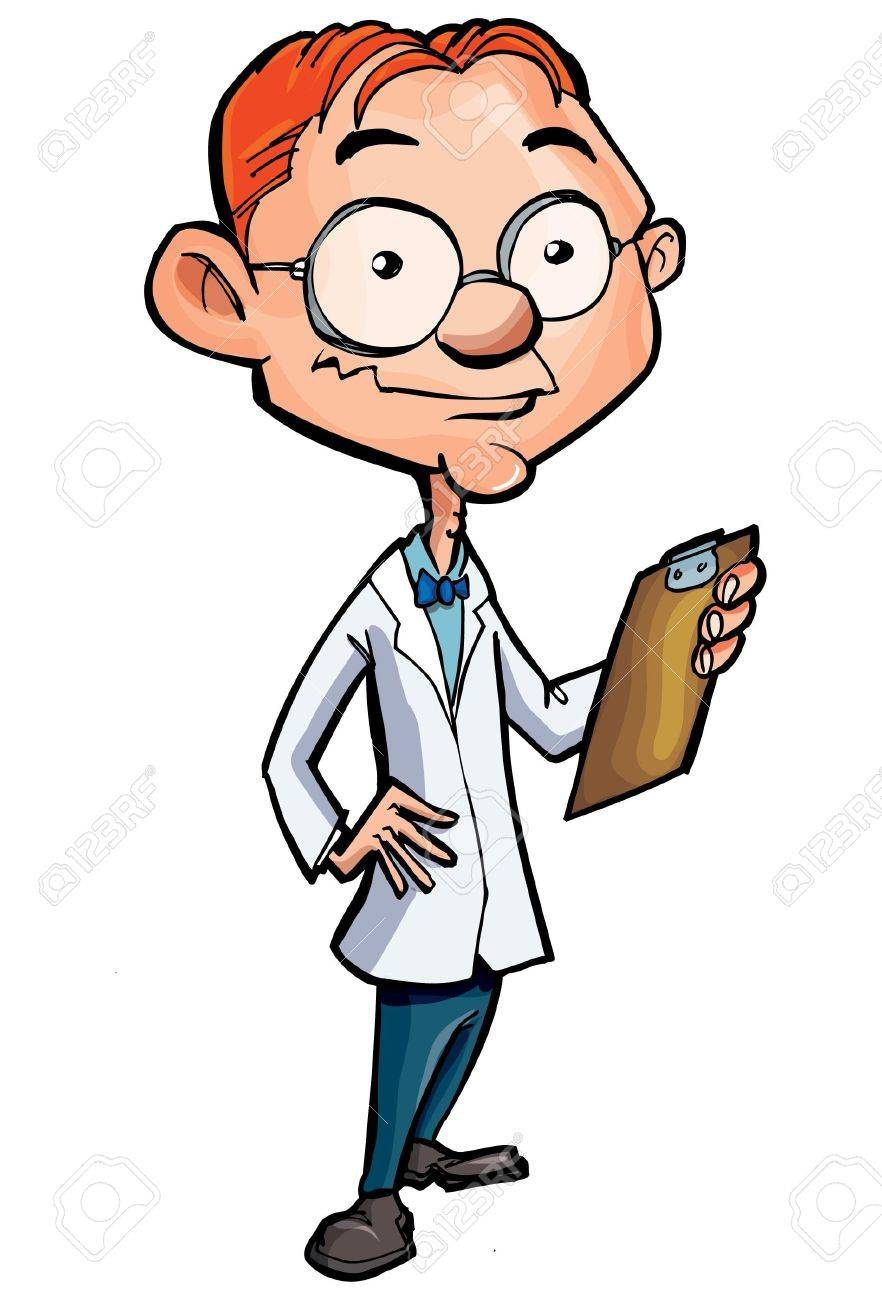 Cartoon of a nerdy doctor isolated on white Stock Vector - 9311589