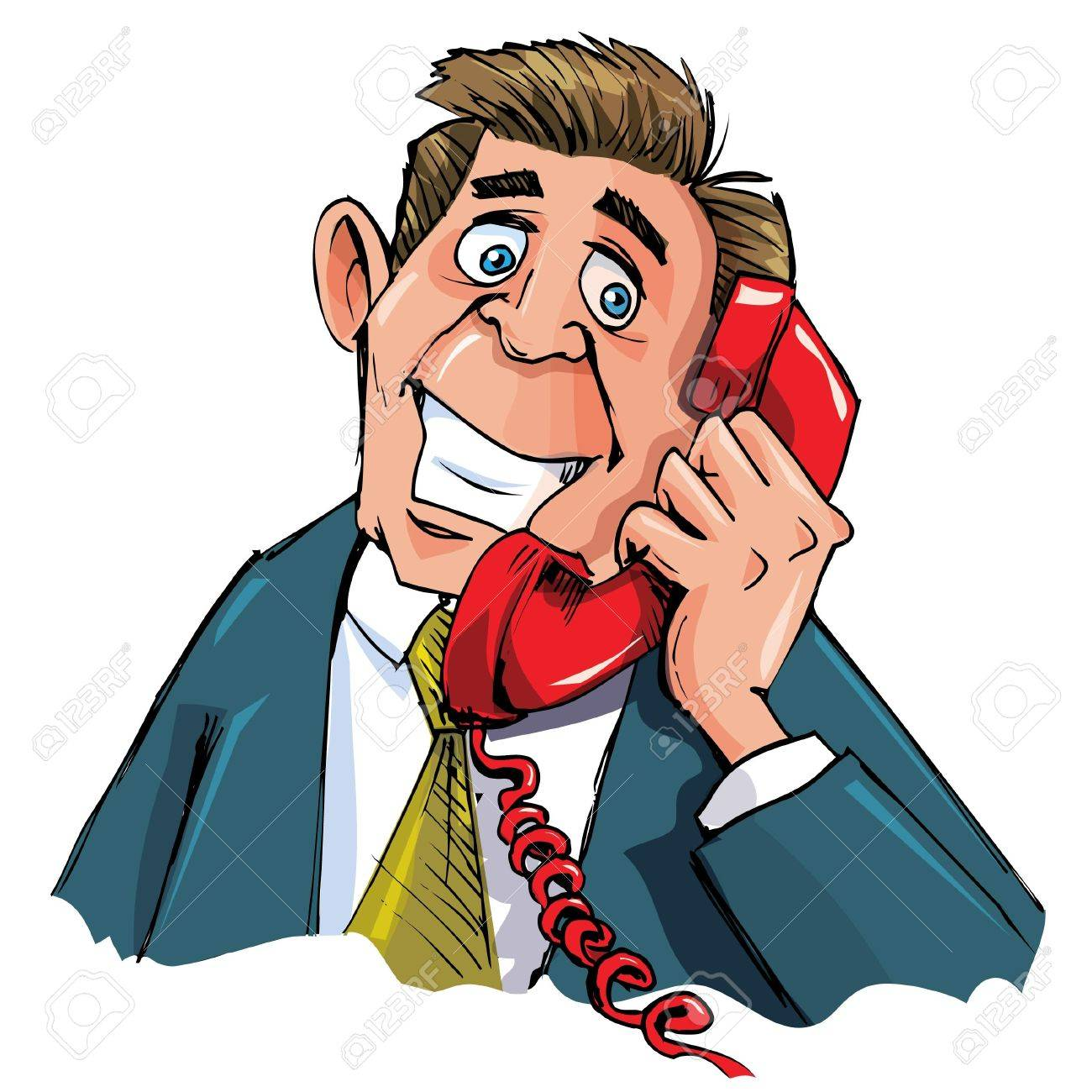 Cartoon office worker on the phone. He is smiling Stock Vector - 9334814