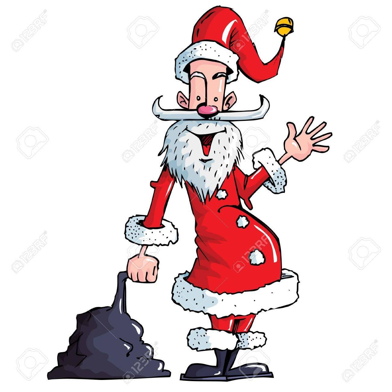 Cartoon Santa with a white beard. Isolated on white Stock Vector - 9376651