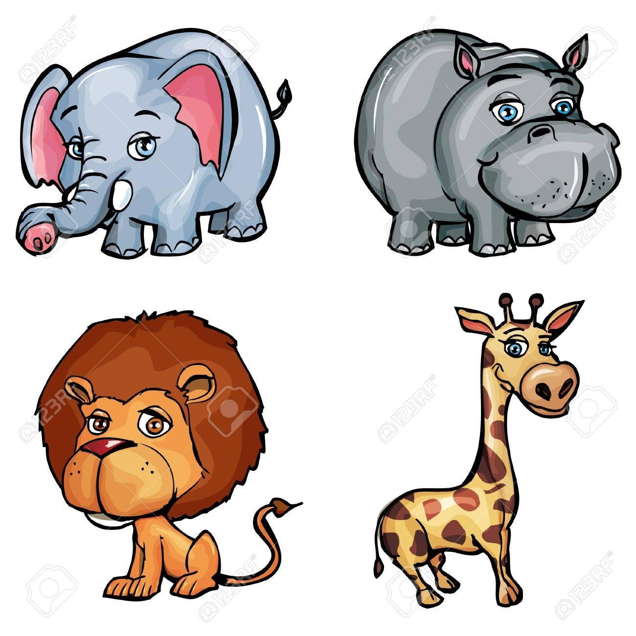 Set of cartoon wild animals isolated on white Stock Vector - 9390259