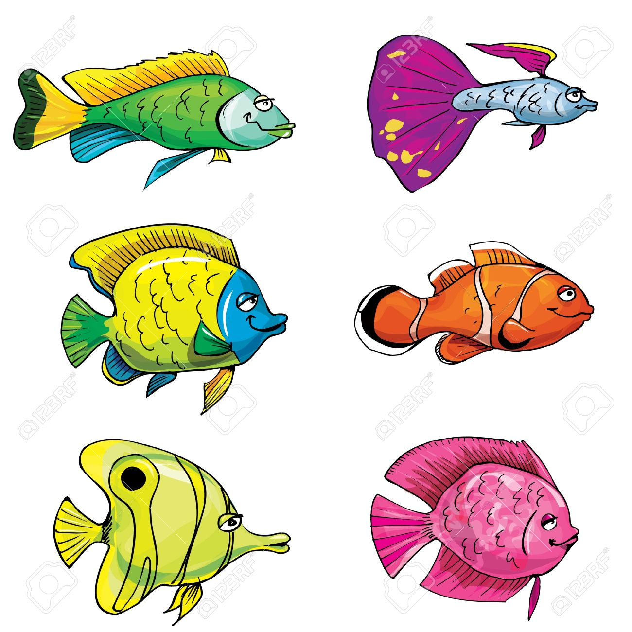 Cartoon set of tropical fish. Isolated on white Stock Vector - 9390286