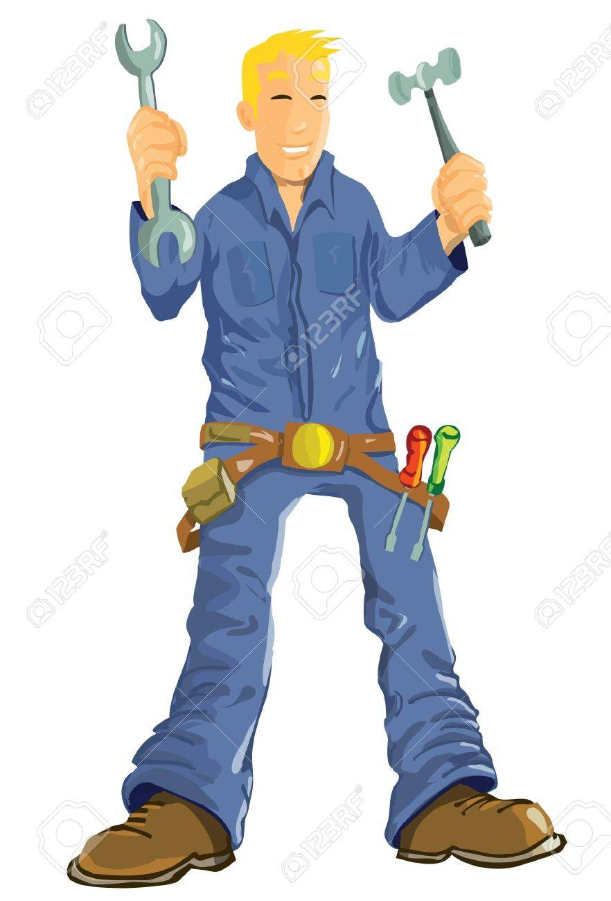 Cartoon mechanic with tools. Isolated on white Stock Vector - 9438209