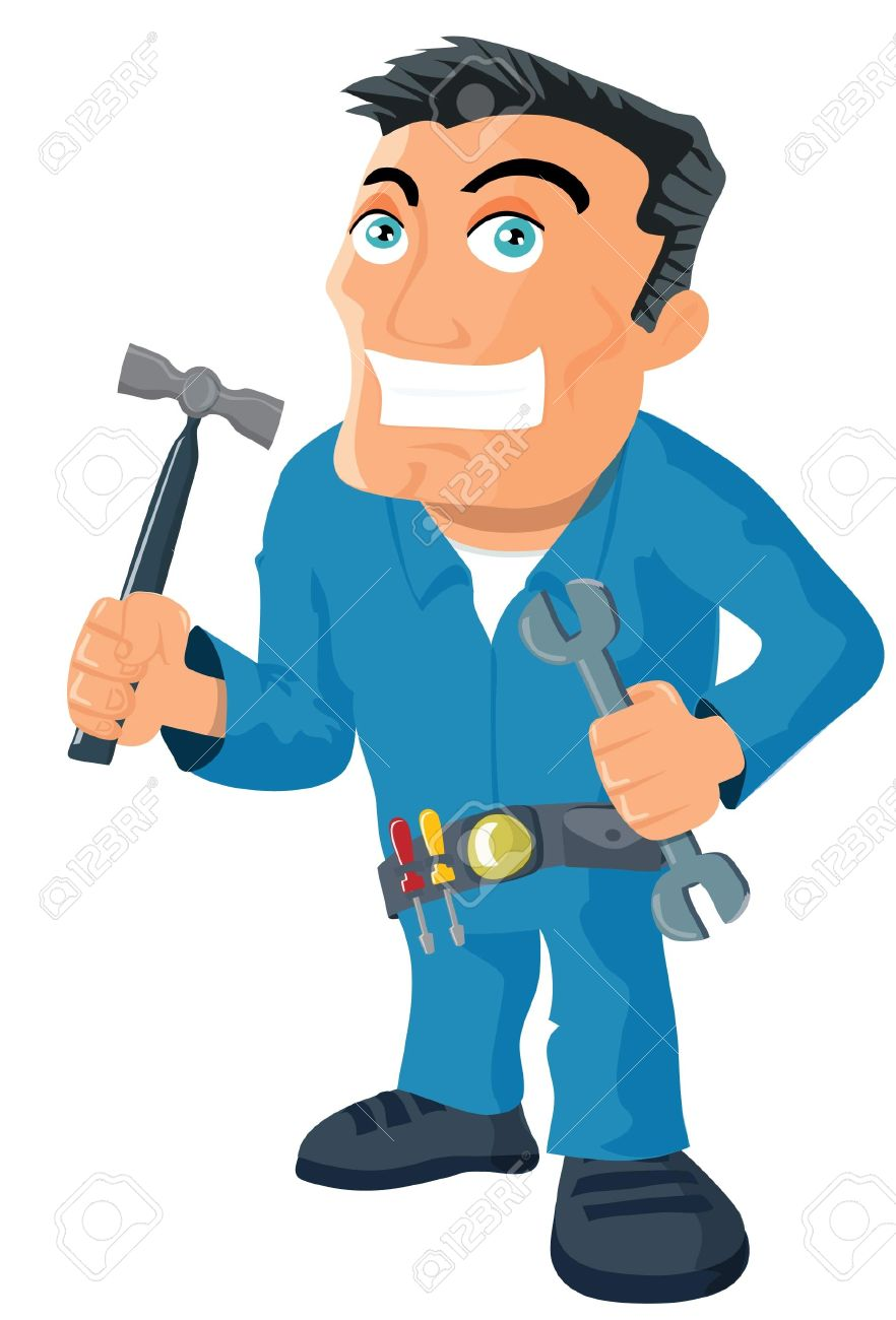 Cartoon handyman with tools. Isolated on white Stock Vector - 9438213