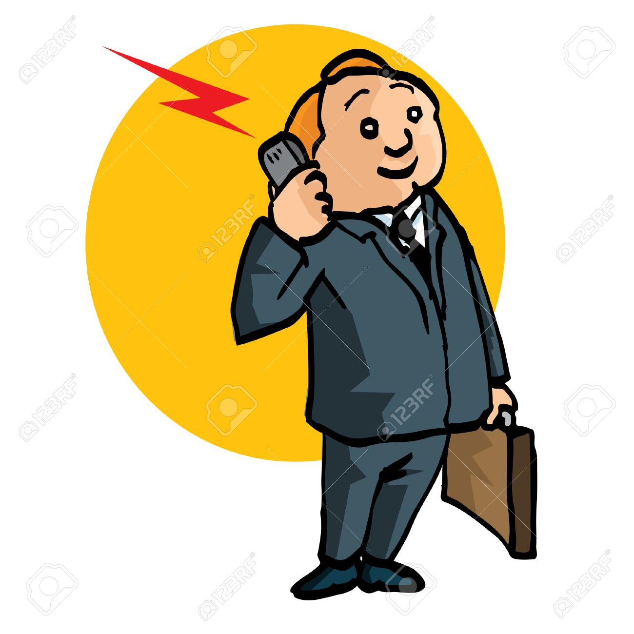 Cartoon salesman with briefcase and mobile phone. Isolated on white Stock Vector - 9438215