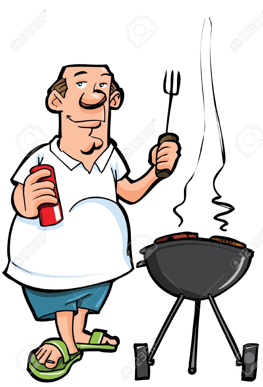 cartoon of overweight man having a bbq isolated on white royalty