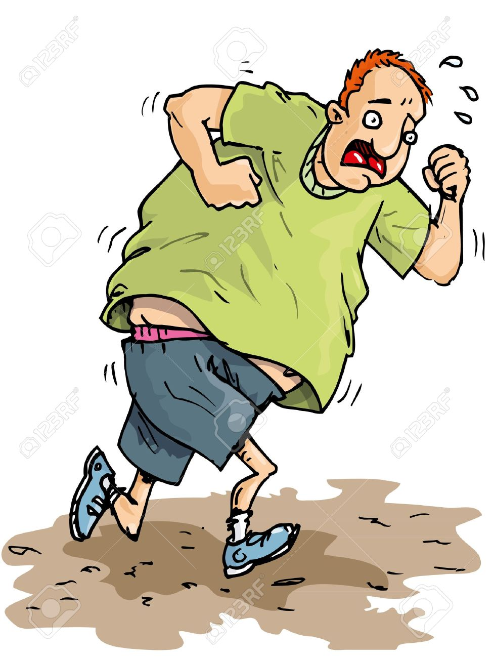 Cartoon of overweight runner trying to lose weight Stock Vector - 9439516