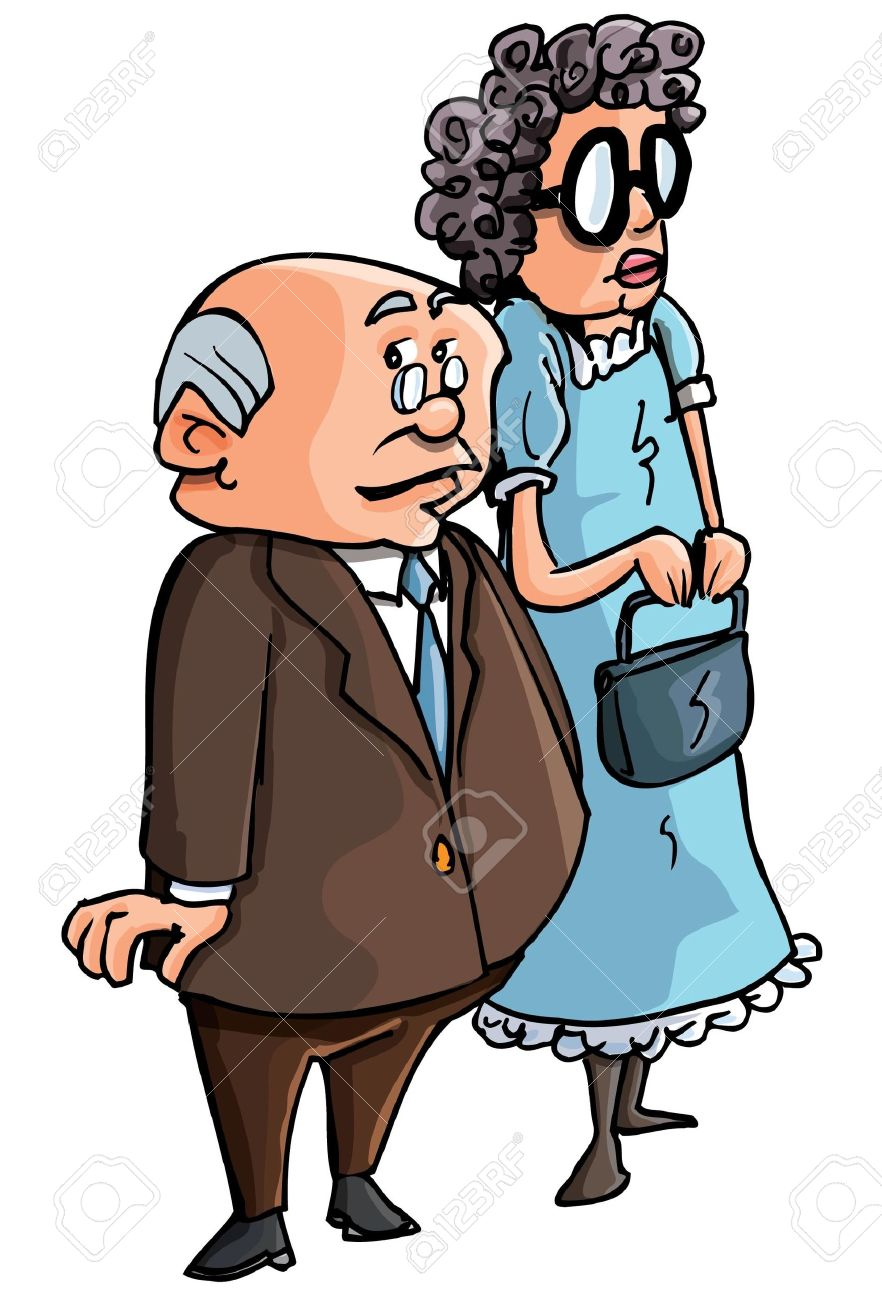 Cartoon of old couple. Isolated on white Stock Vector - 9468908