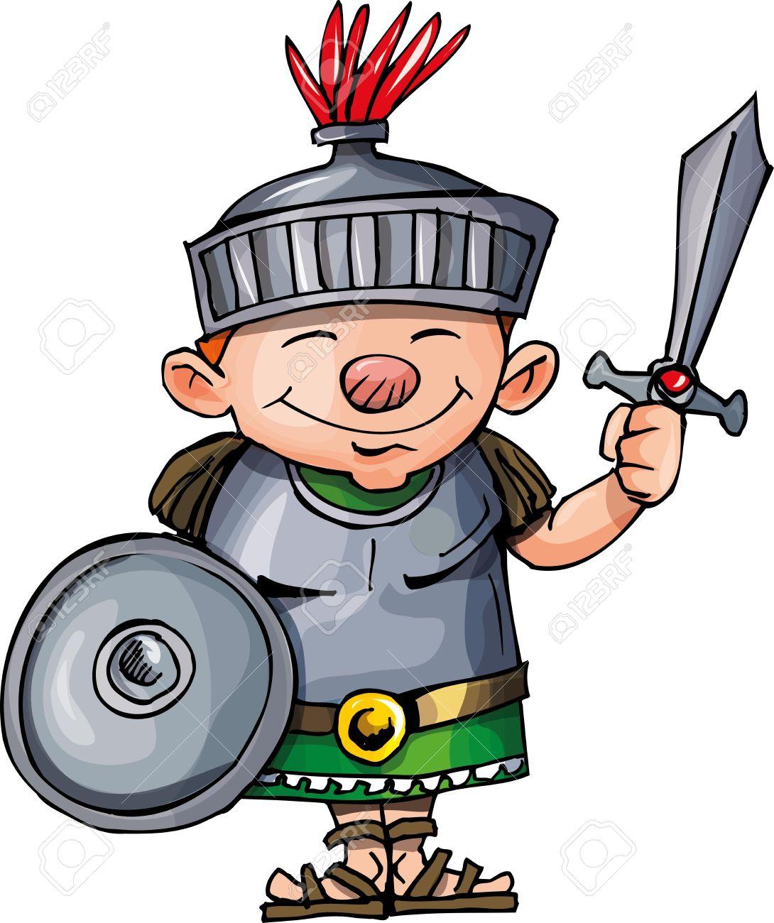 Cartoon Roman legionary with sword and shield. Isolated on white Stock Vector - 9630590