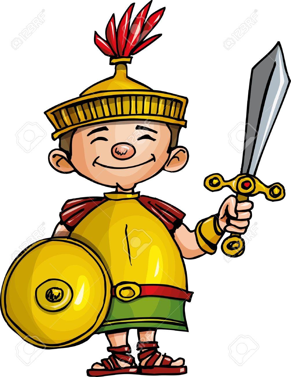 Cartoon Roman legionary with sword and shield. Isolated on white Stock Vector - 9630583