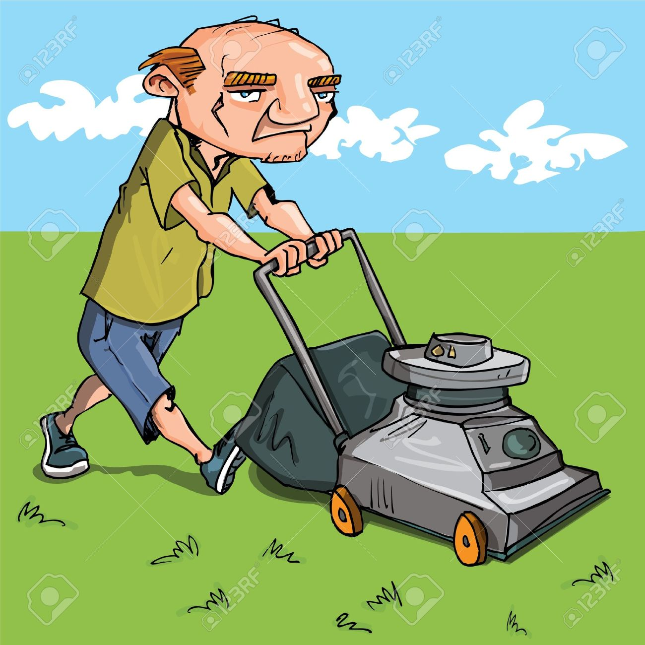 Cartoon man mowing his lawn. Grass and blue sky behind Stock Vector - 9630612