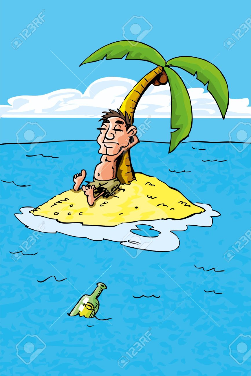 Cartoon of castaway on a desert island. bottle in the sea Stock Vector - 9630610