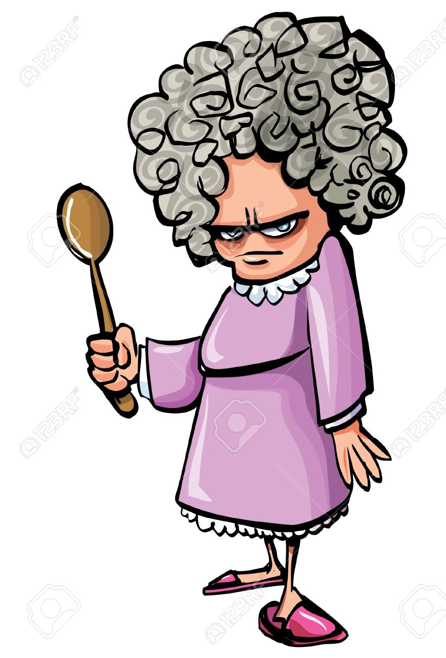 Cartoon Angry Old Woman With A Wooden Spoon. Isolated Royalty Free ...