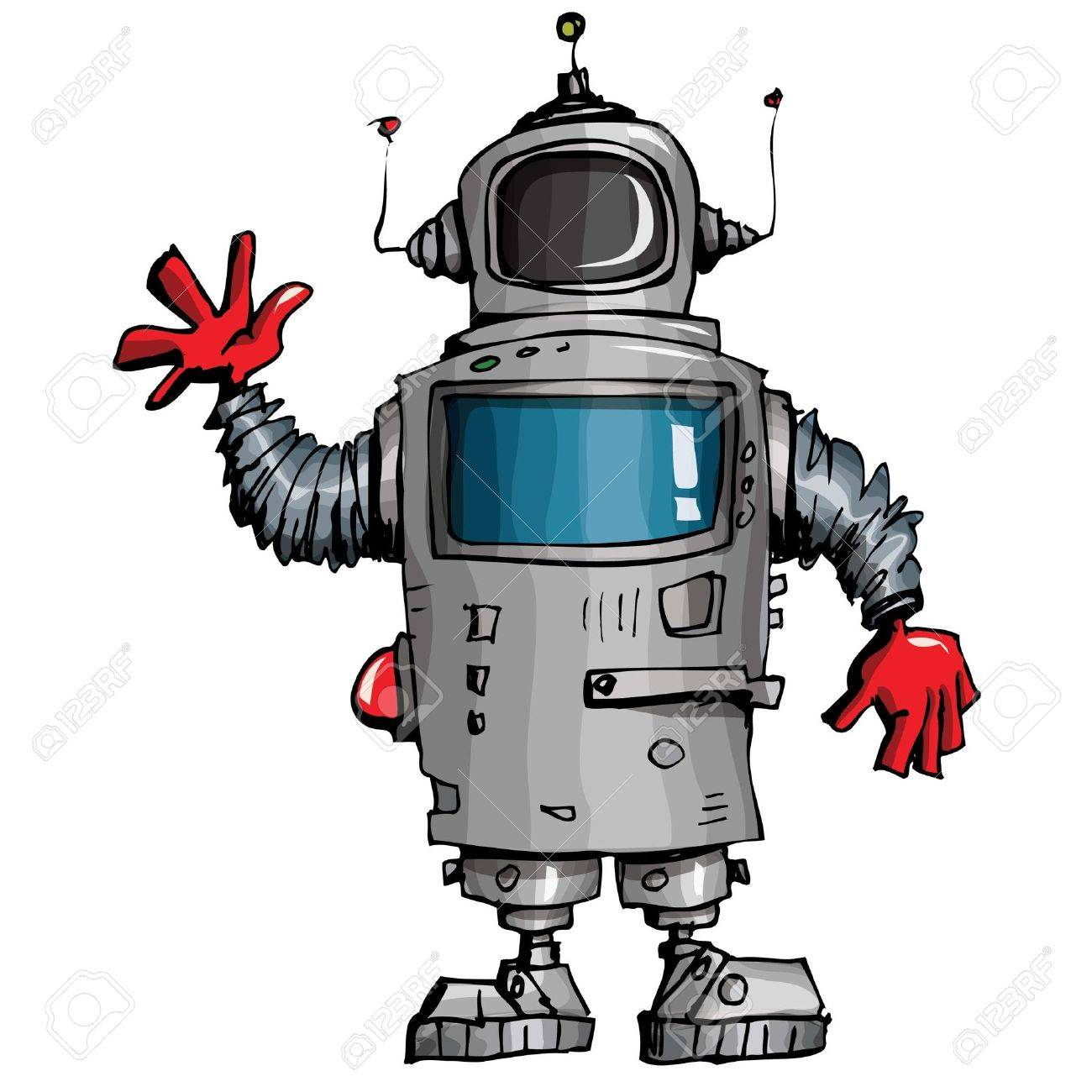 Cartoon robot waving his hand. Isolated on white Stock Vector - 9630663