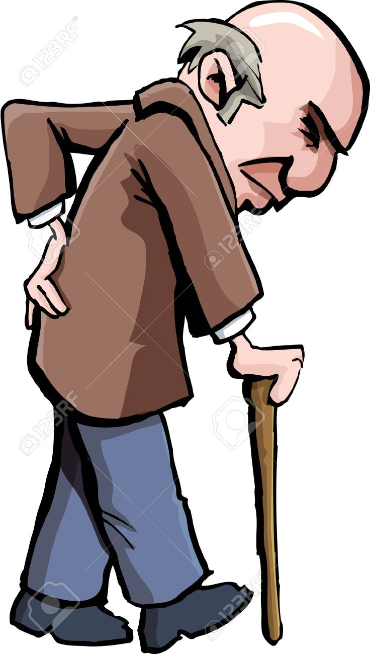 Cartoon of old man with a walking stick. Isolated on white Stock Vector - 9701520