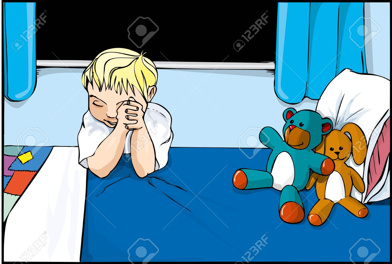 Cartoon boy saying prayers on his bed with stuffed toys around Stock Vector - 9701563