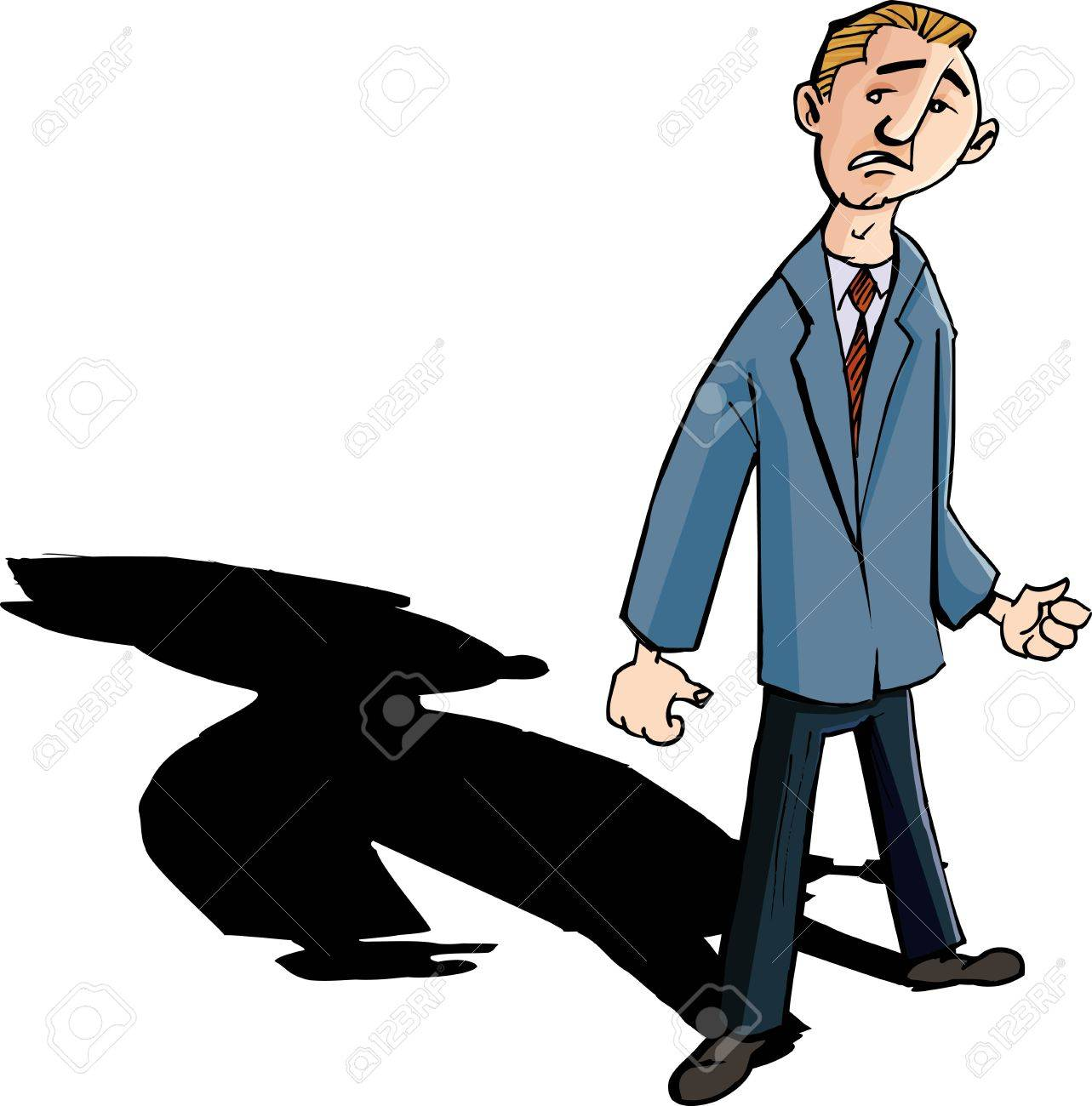 Cartoon of worried man with a shadow behind him. Isolated - 9701559