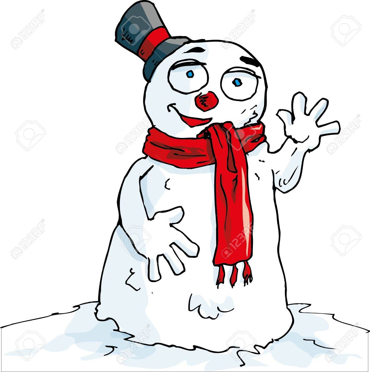 Cartoon of waving snowman with a scarf. Isolted on white Stock Vector - 9701518