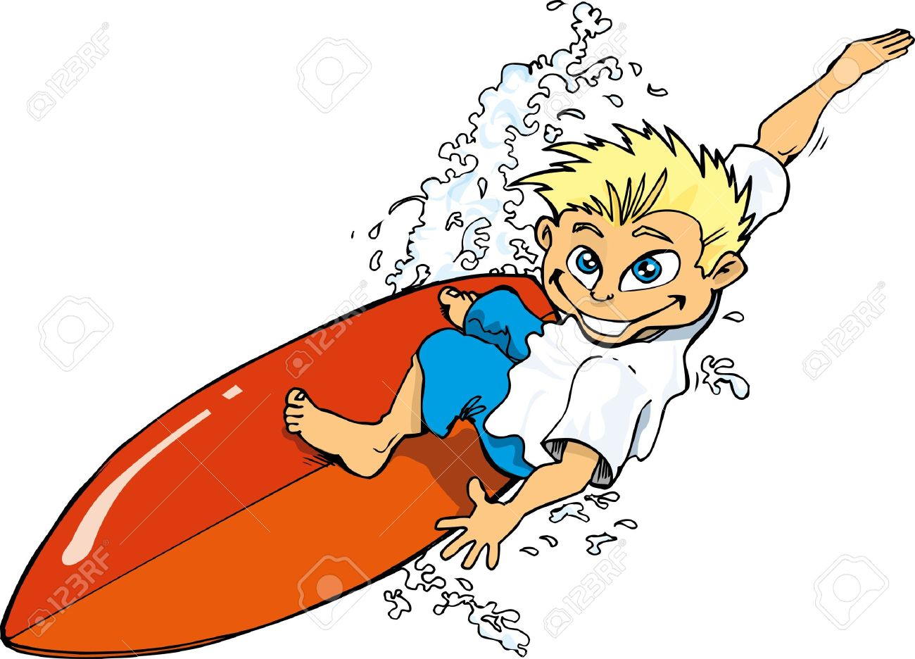 cartoon surfer boy riding a surf board isolated on white royalty rh 123rf com free surfer girl clip art surfer silhouette clip art free
