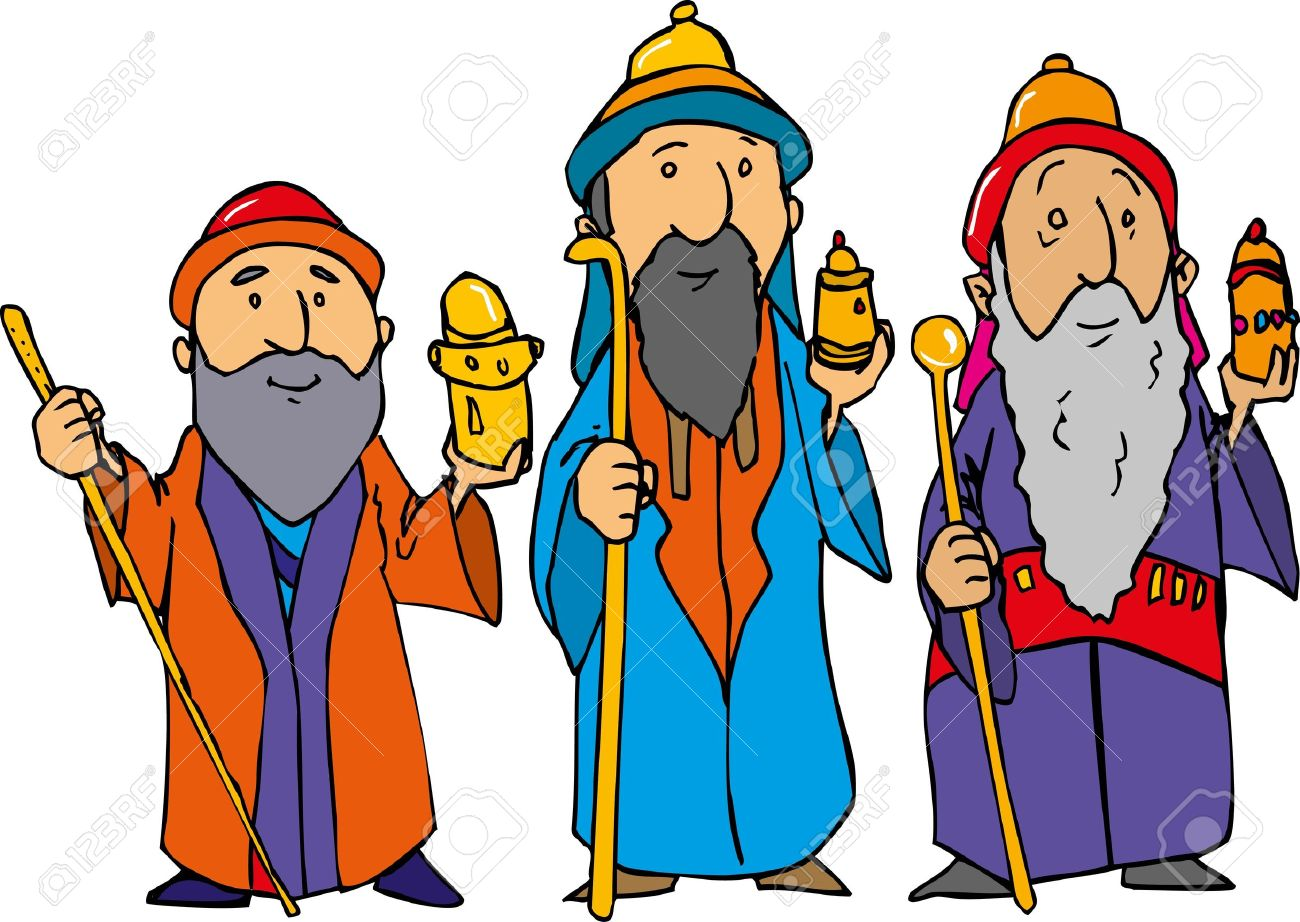 cartoon of the three wise men with gold frankincense and myrrh rh 123rf com three kings clipart three kings clipart black and white