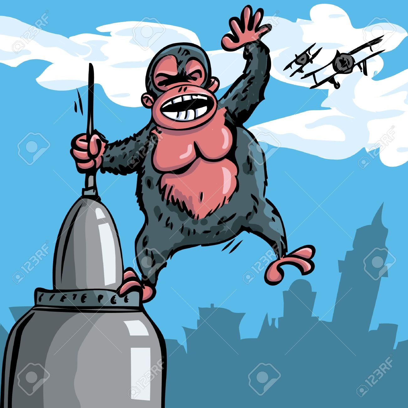 cartoon king kong hanging on a skyscraper biplanes in the sky rh 123rf com King Kong Shadow Clip Art King Kong Silhouette