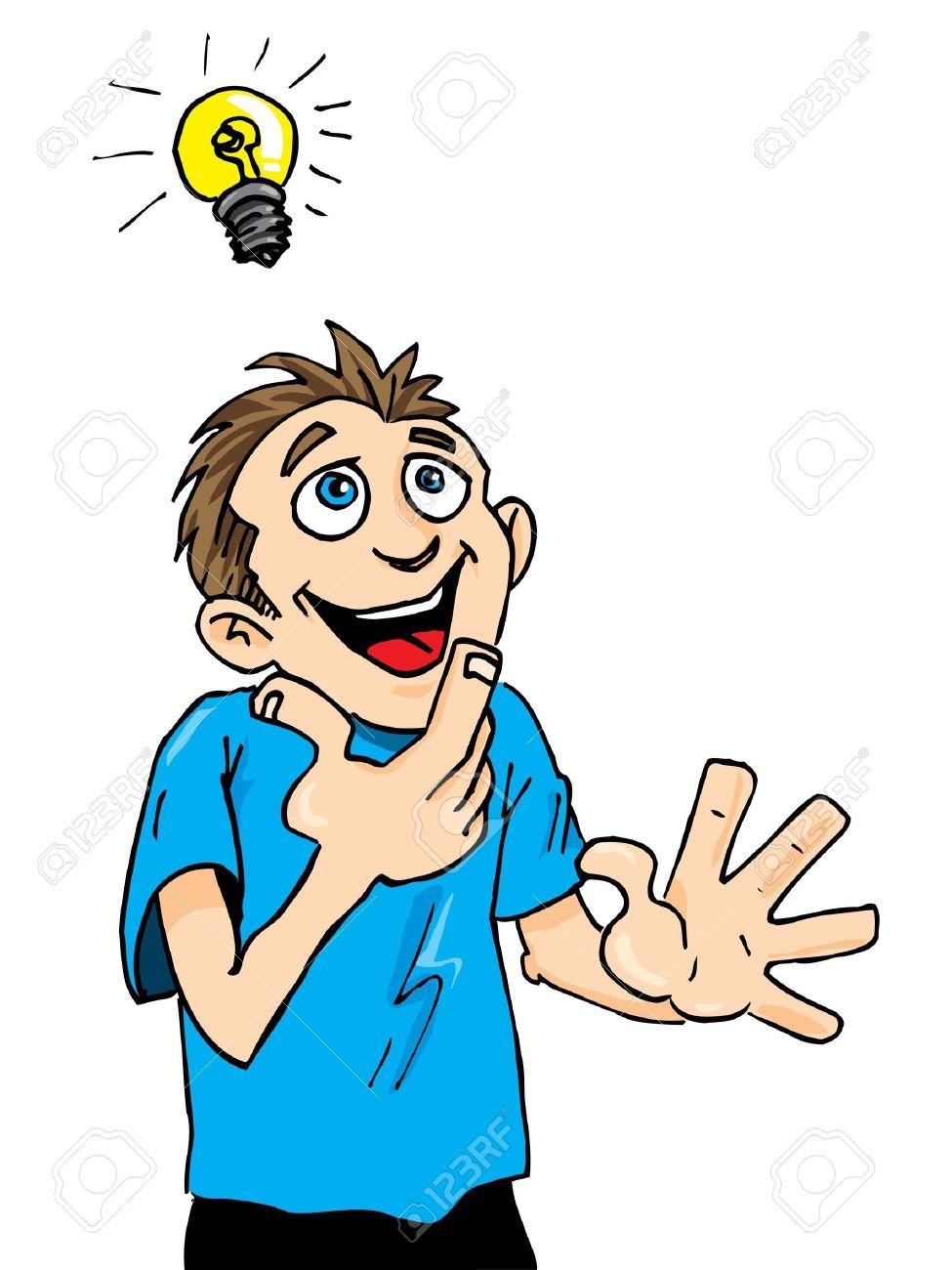 Cartoon Man Gets A Bright Idea. A Light Bulb Above His Head Stock Vector