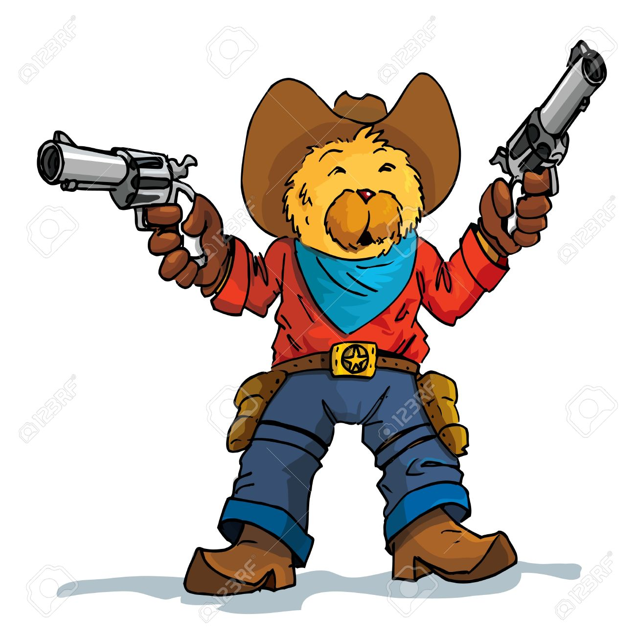 Cartoon of a bear cowboy with guns drawn. Isolated on white Stock Vector - 10390391