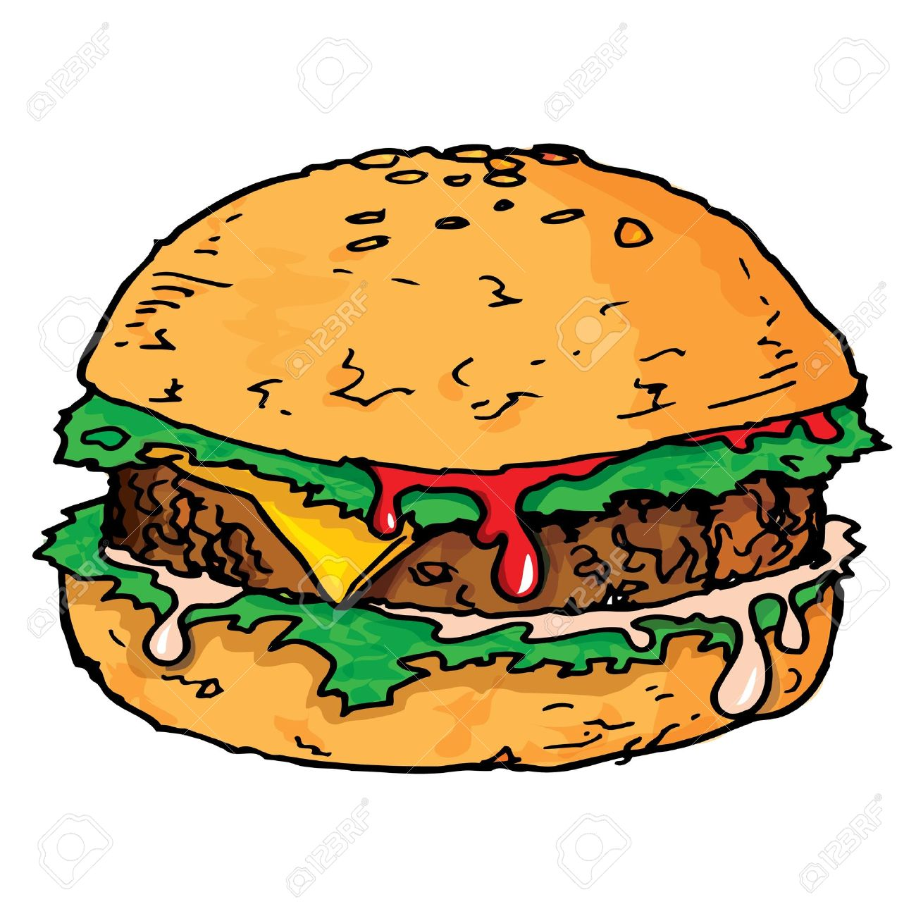 Illustration of a large juicy hamburger. Isolated Stock Vector - 10418384