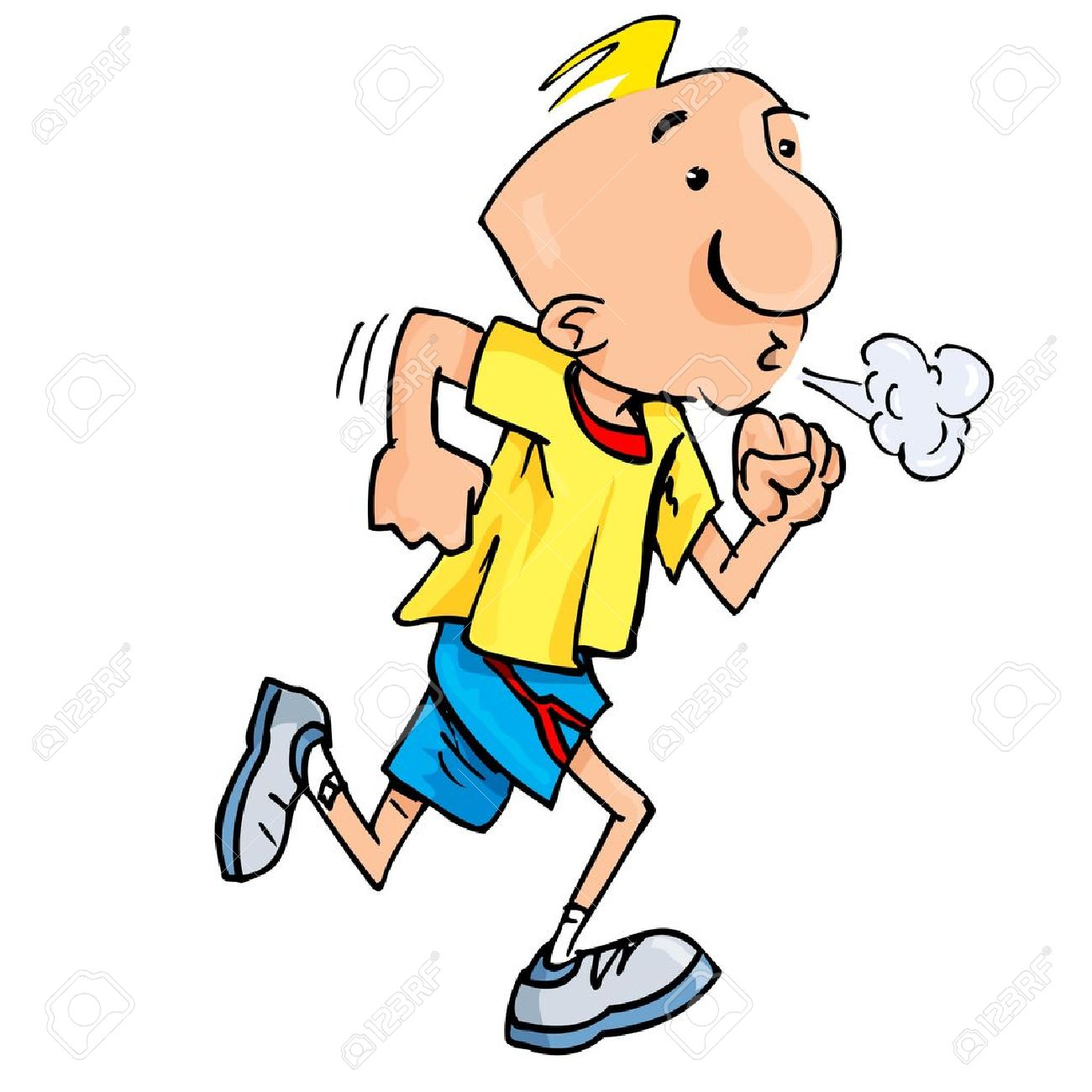 Cartoon of a jogging man puffing exertion. Isolated on white Stock Vector - 10496223
