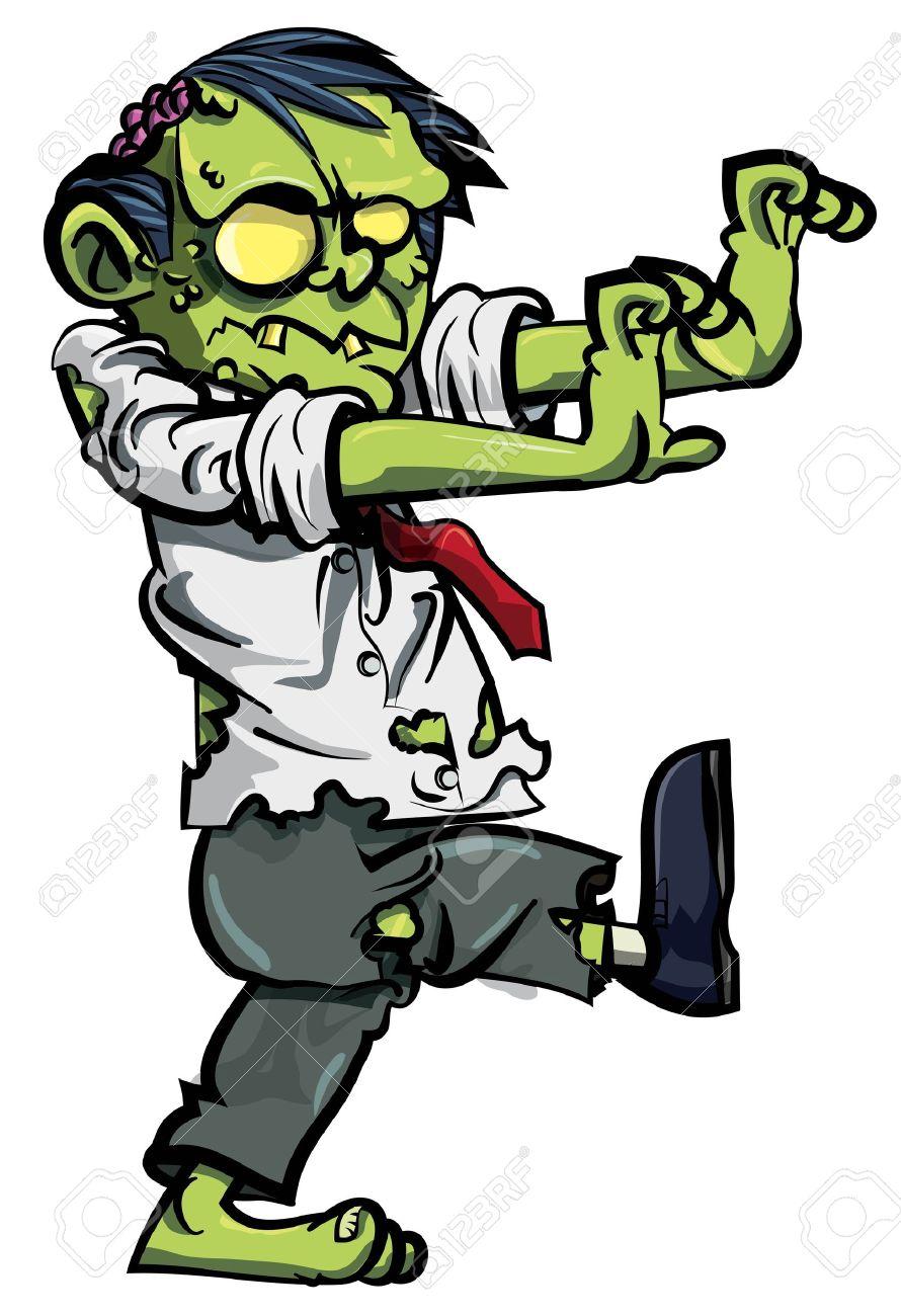 Cartoon Zombie With Brains
