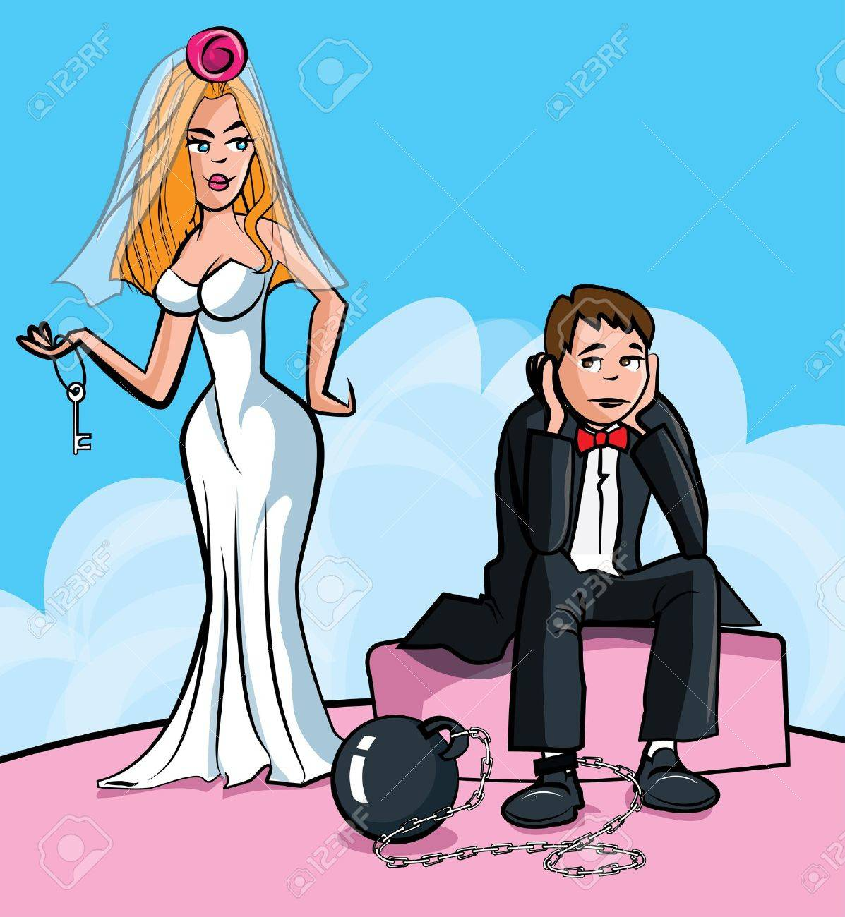 Cartoon Ball and chain. Just married man with ball and chain. Isolated - 11271470