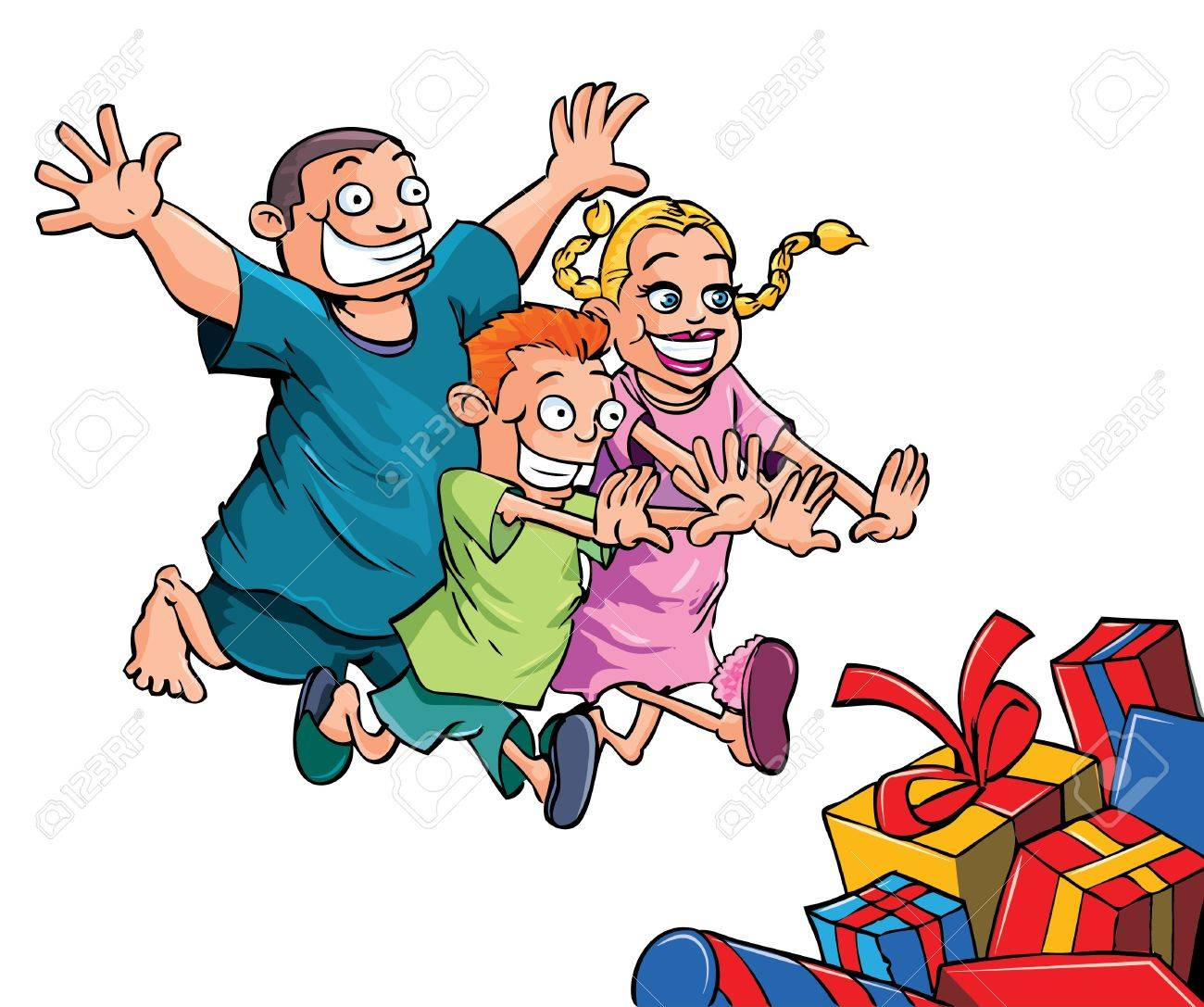 Cartoon kids running to their Christmas gifts. Isolated Stock Vector - 11349459