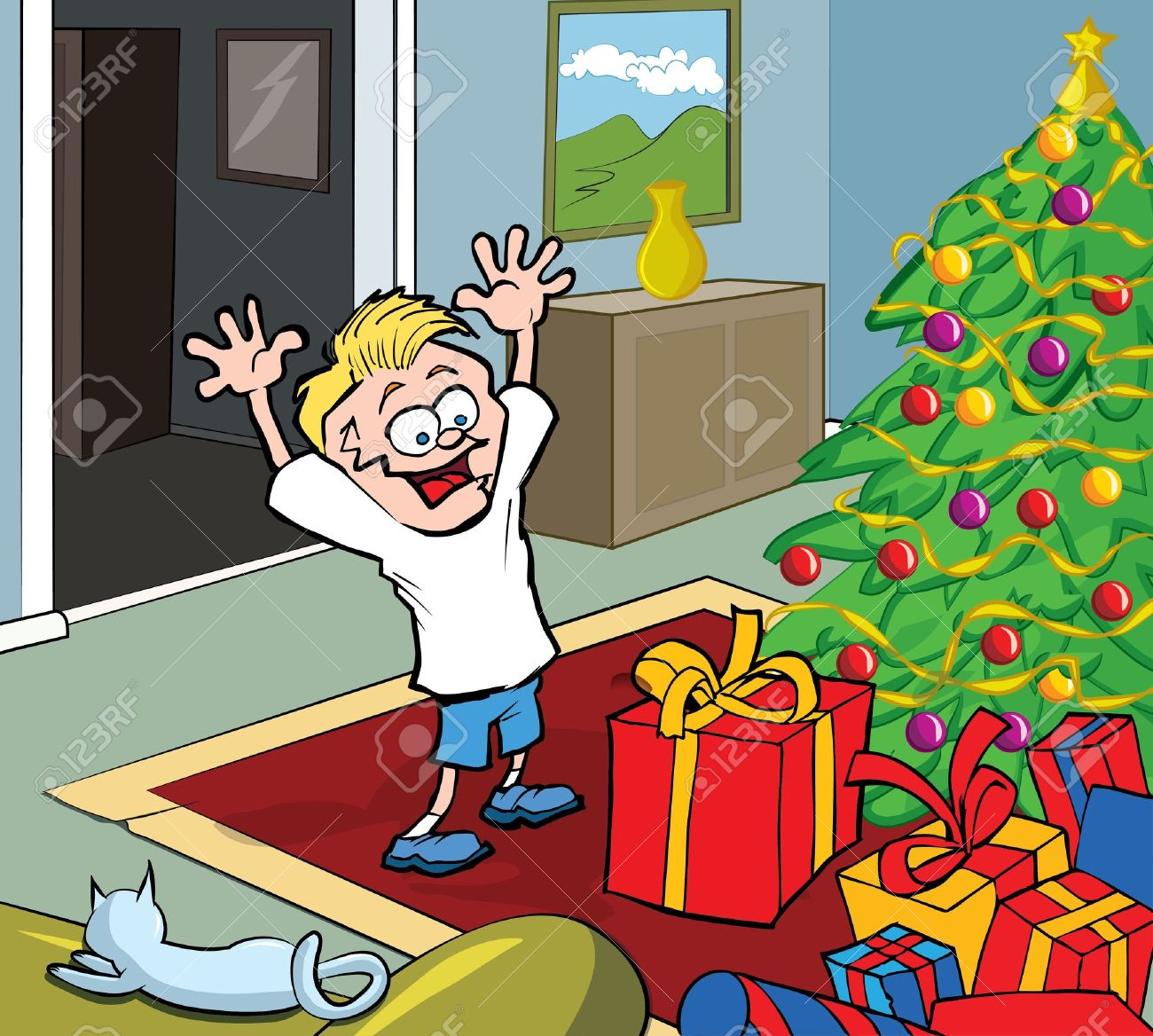 Cartoon Kid On Christmas Morning Opening Gifts By A Christmas Royalty Free Cliparts Vectors And Stock Illustration Image 11349460 Set of trees and shrubs. cartoon kid on christmas morning opening gifts by a christmas