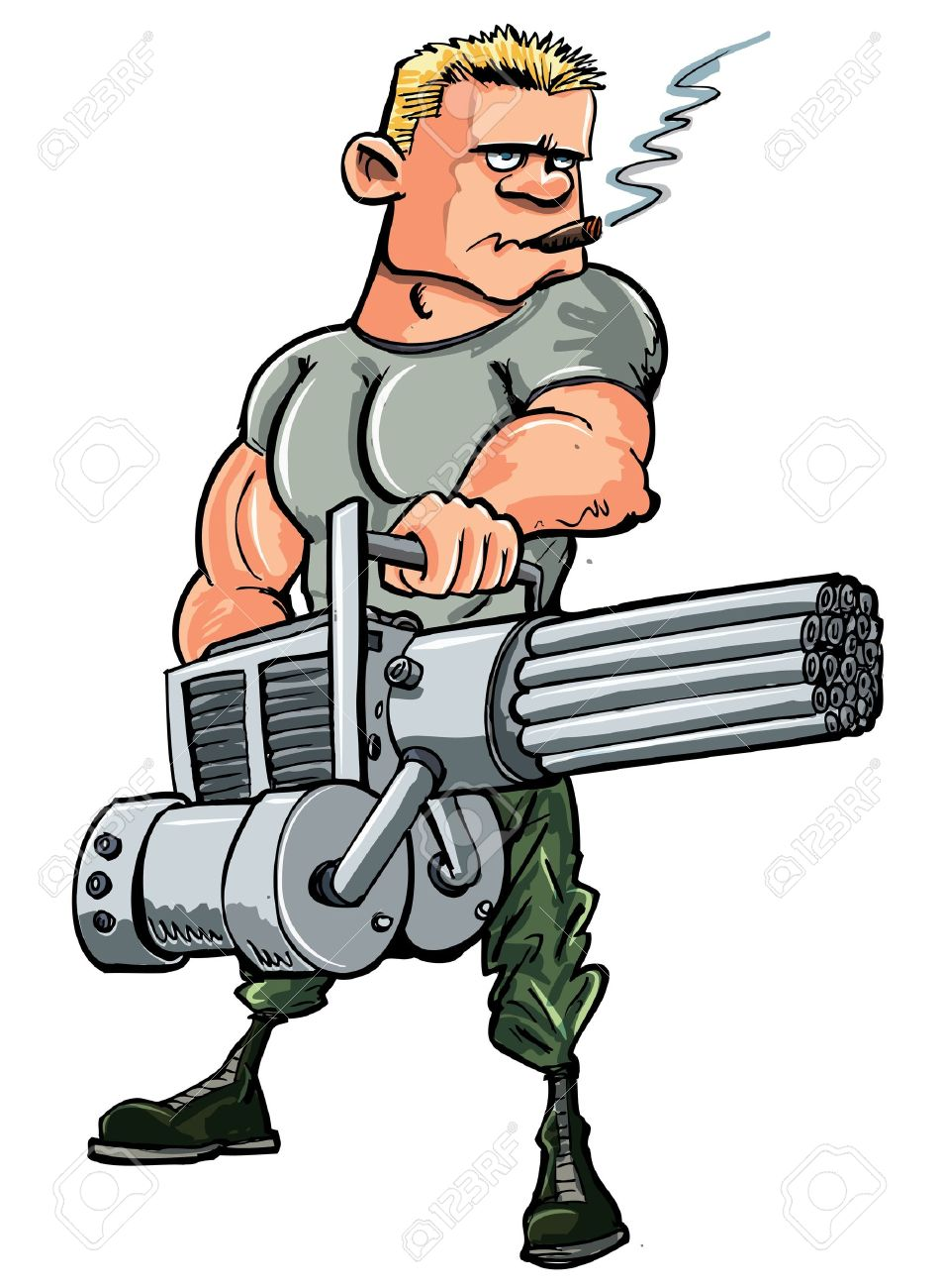 Cartoon soldier with a mini gun. Isolated on white Stock Vector - 11764861