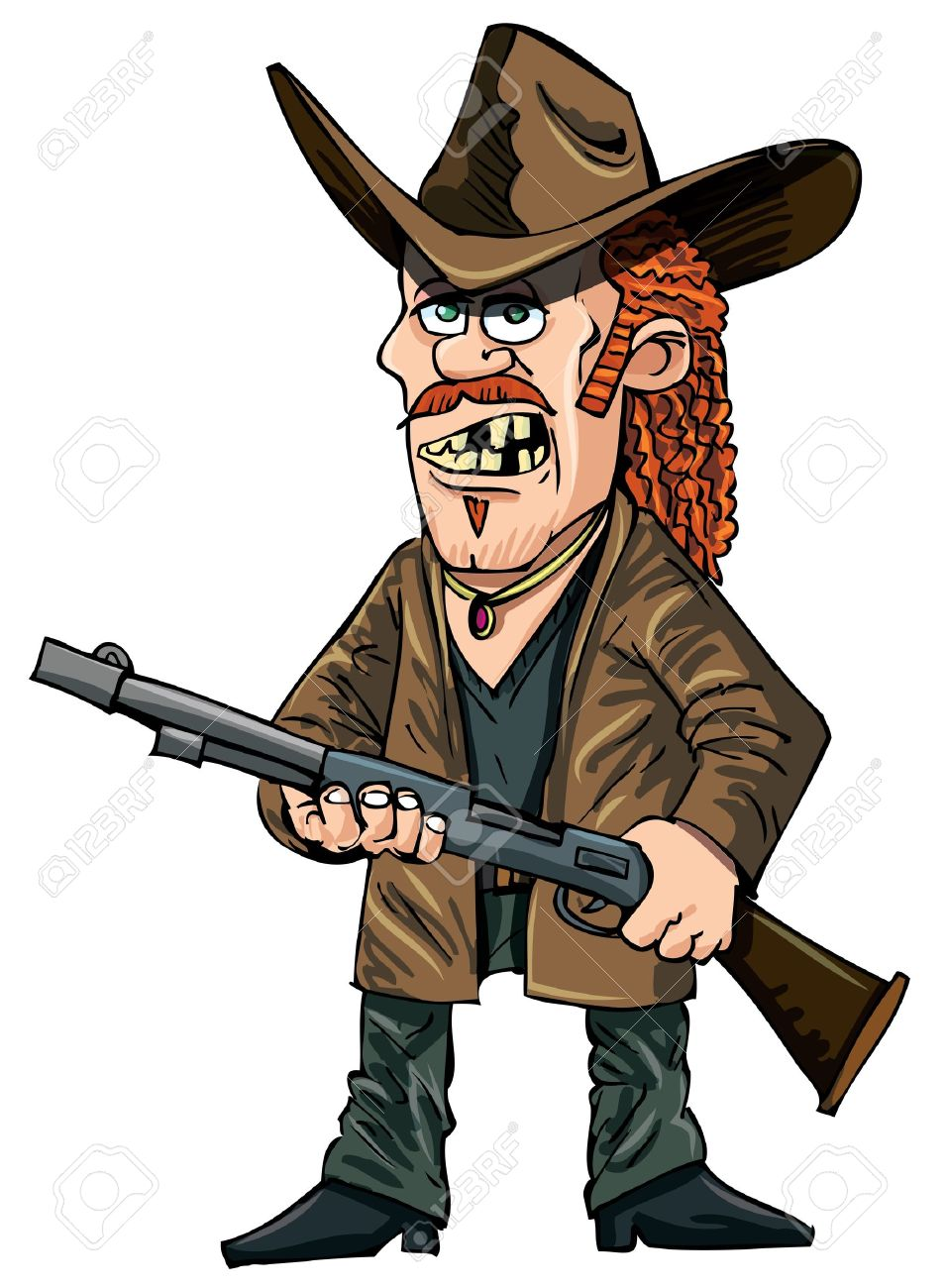 Cartoon redneck with a rifle. Isolated on white Stock Vector - 12273458