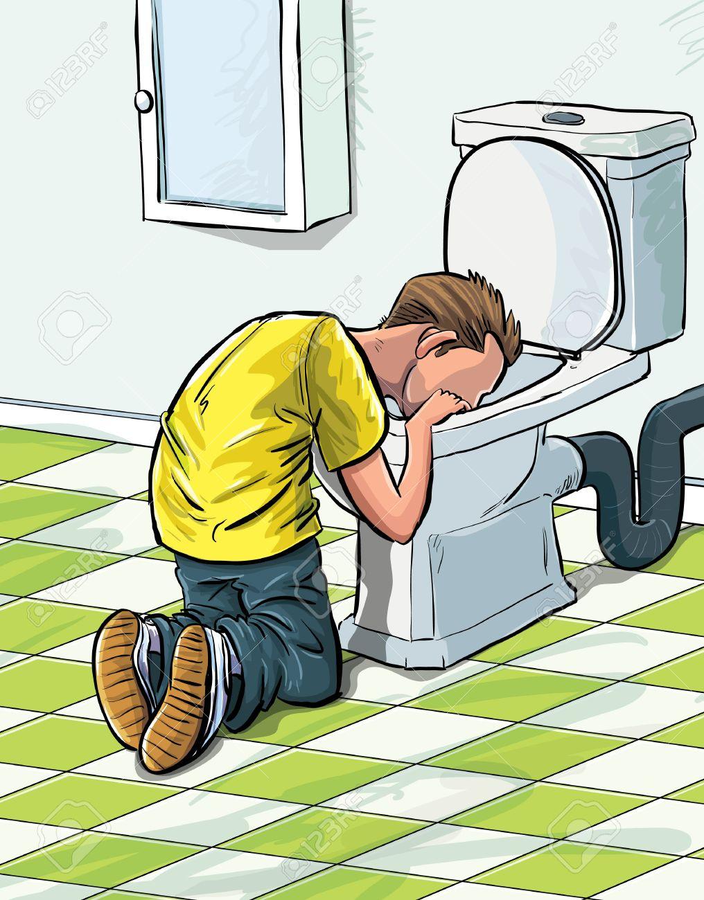 Cartoon Teenager Krank Im WC Nach Dem Trinken Zu Viel. Im Badezimmer  Lizenzfreie Bilder