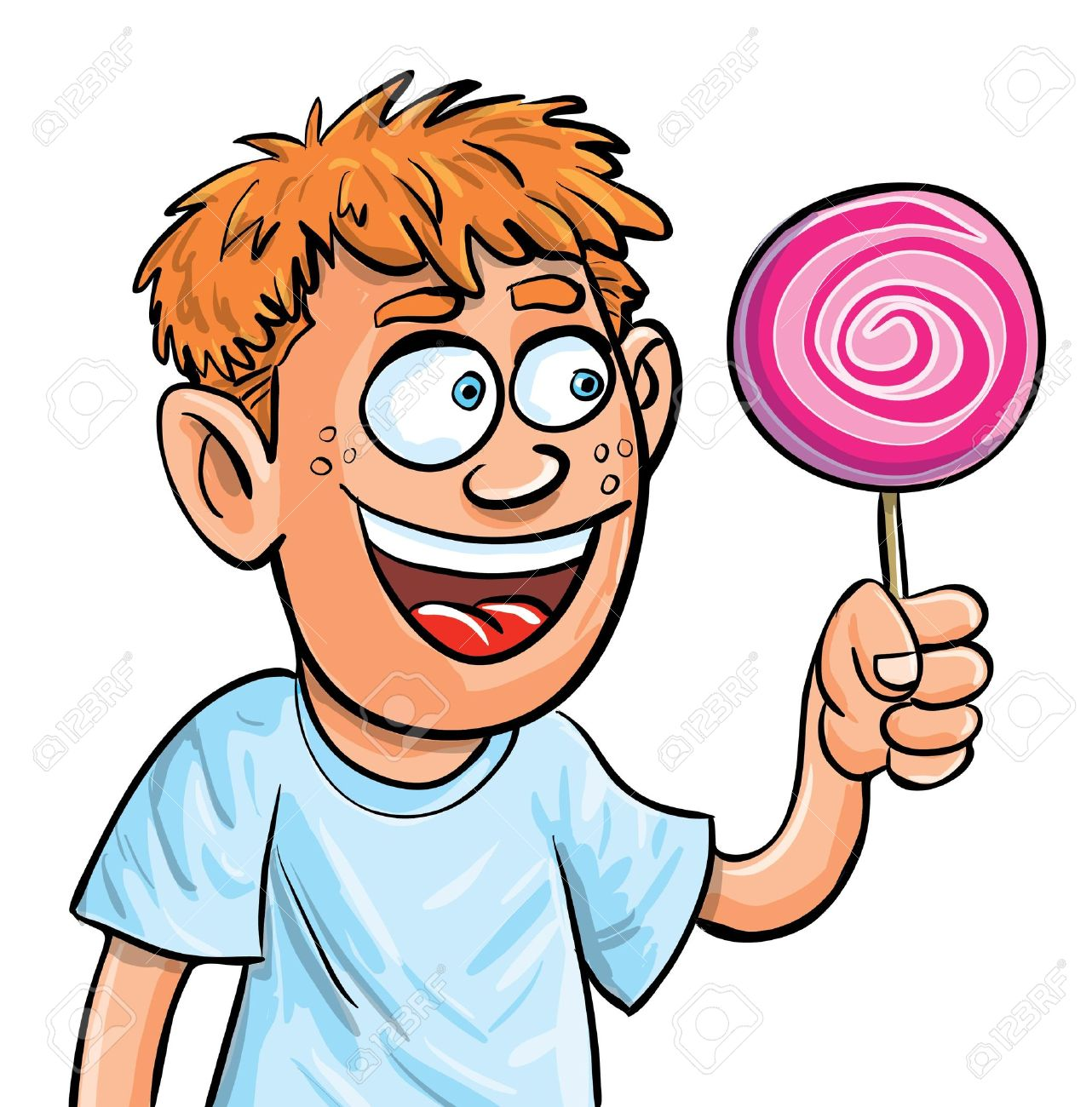 Cartoon Boy Eating Lollypop Isolated On White Royalty Free Cliparts - Cartoon-boy-images-free