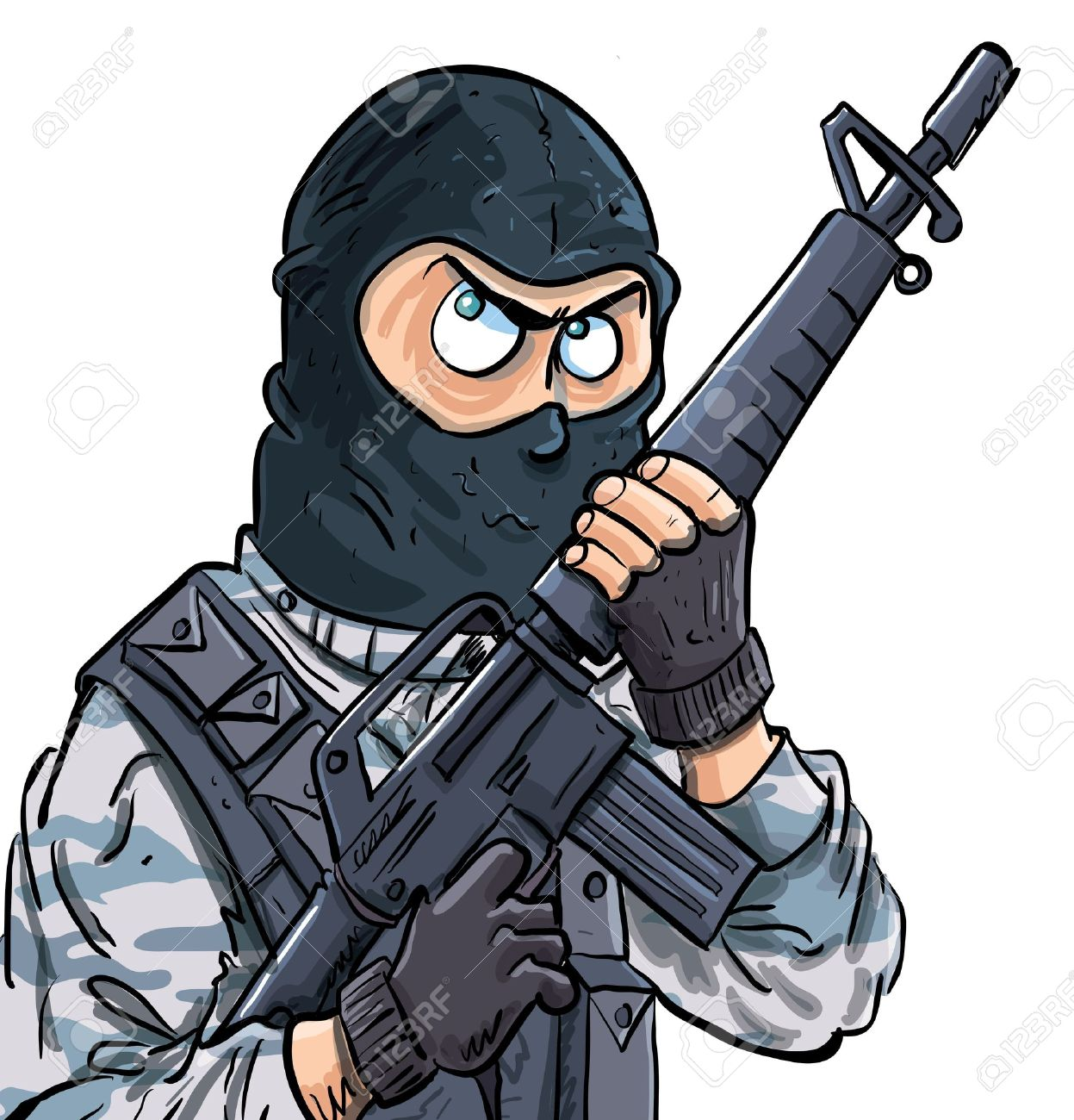 Cartoon SWAT member with a gun. Isolated on white Stock Vector - 14036609